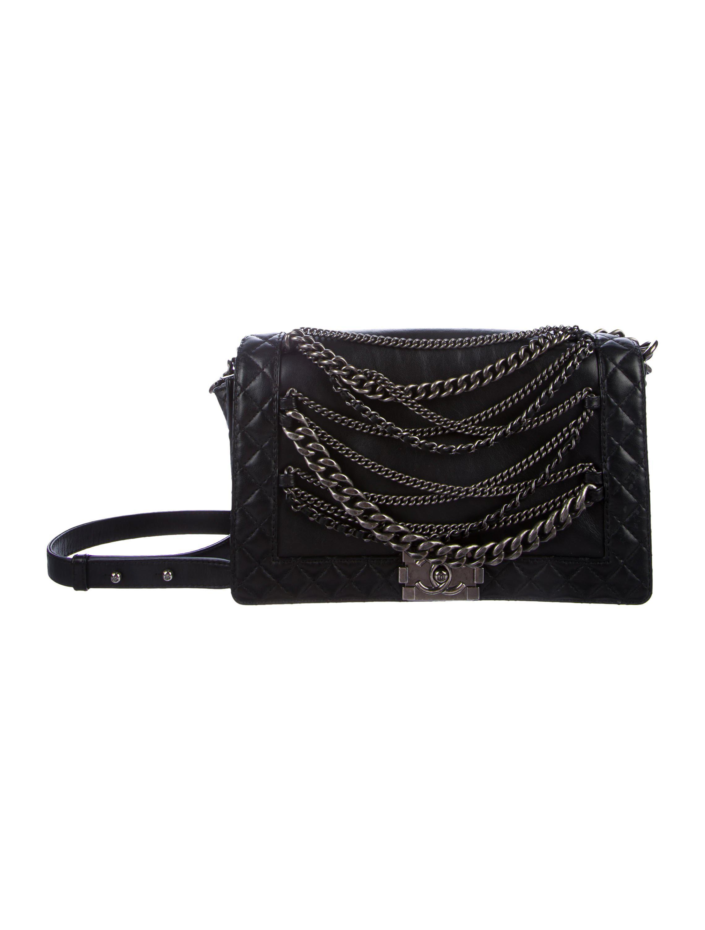 99067751181b Lyst - Chanel Medium Enchained Boy Bag Black in Metallic