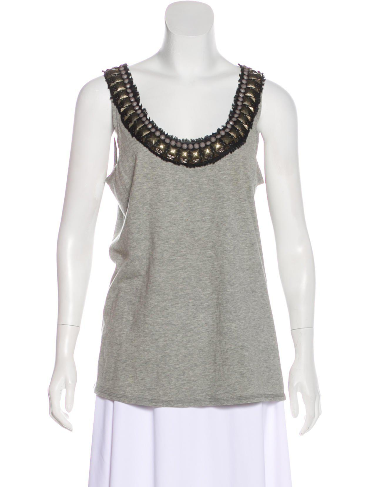 19741e1810d2 Lyst - Tory Burch Sleeveless Embellished Knit Top Grey in Gray