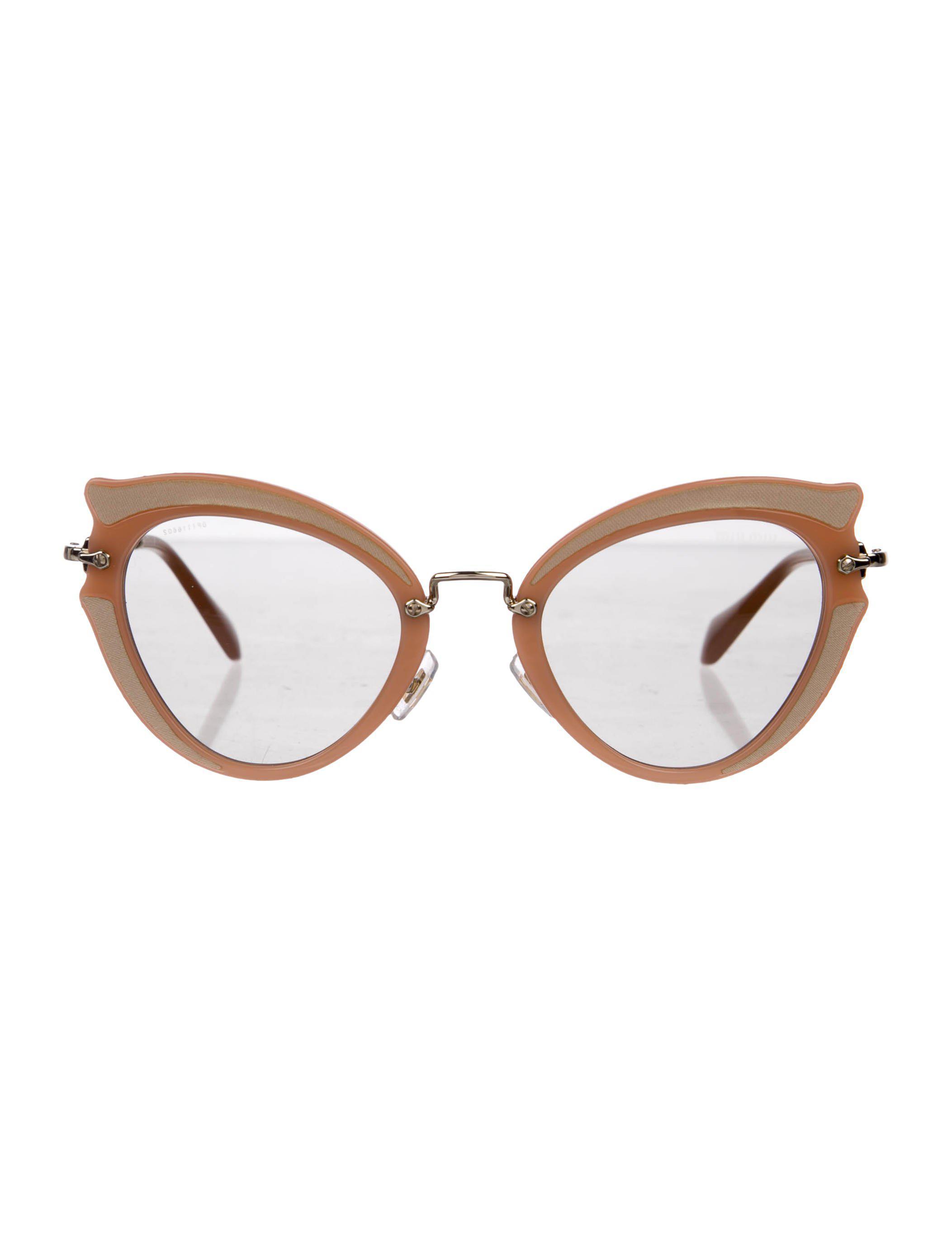 6748165b00c Lyst - Miu Miu Miu Tinted Cat-eye Sunglasses Mauve in Metallic
