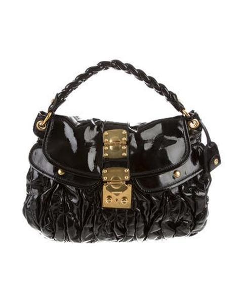 230c9ff11776 Lyst - Miu Miu Miu Patent Leather Coffer Bag Black in Metallic