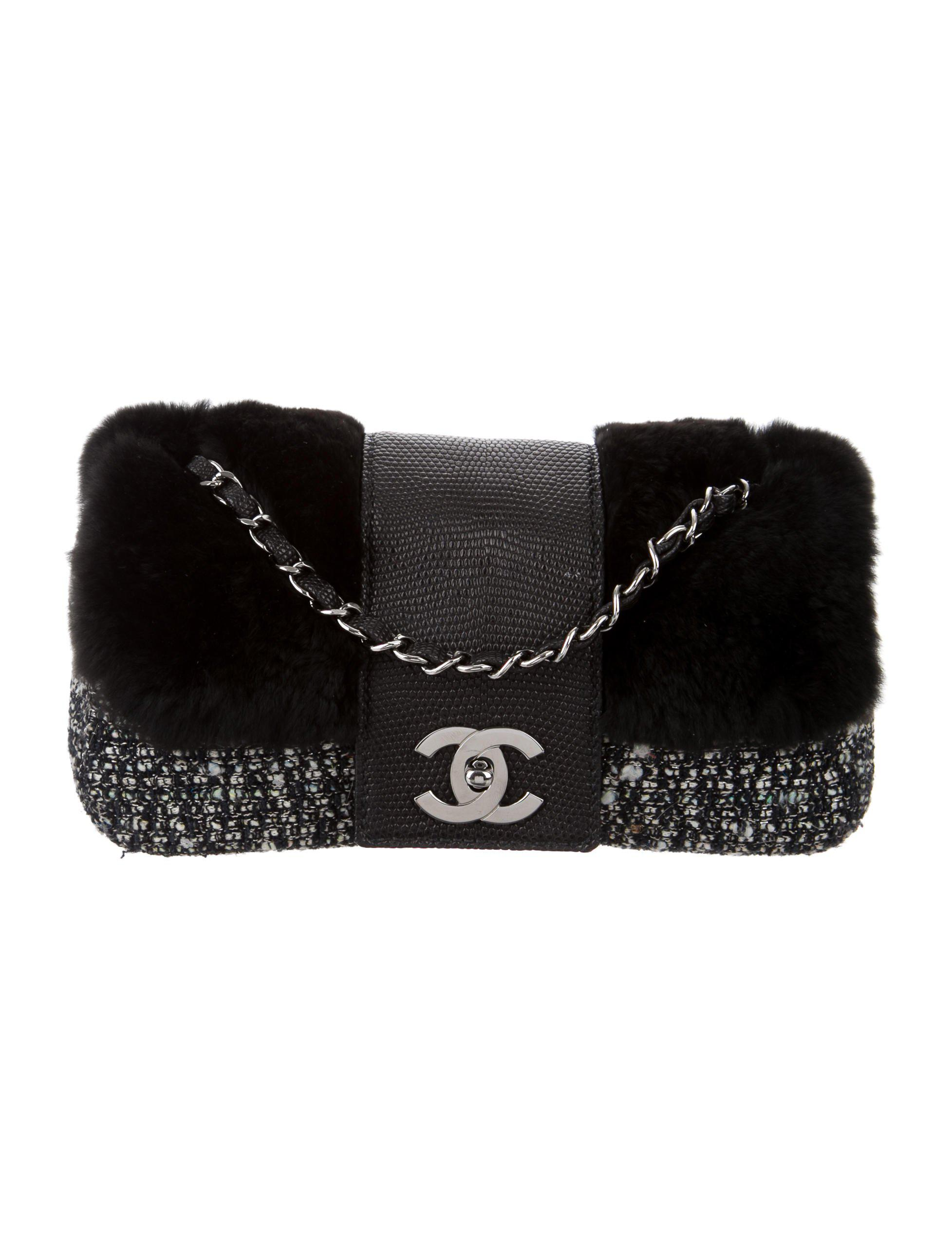 064b452fbdc0 Lyst - Chanel Fantasy Tweed Fur Flap Bag in Black