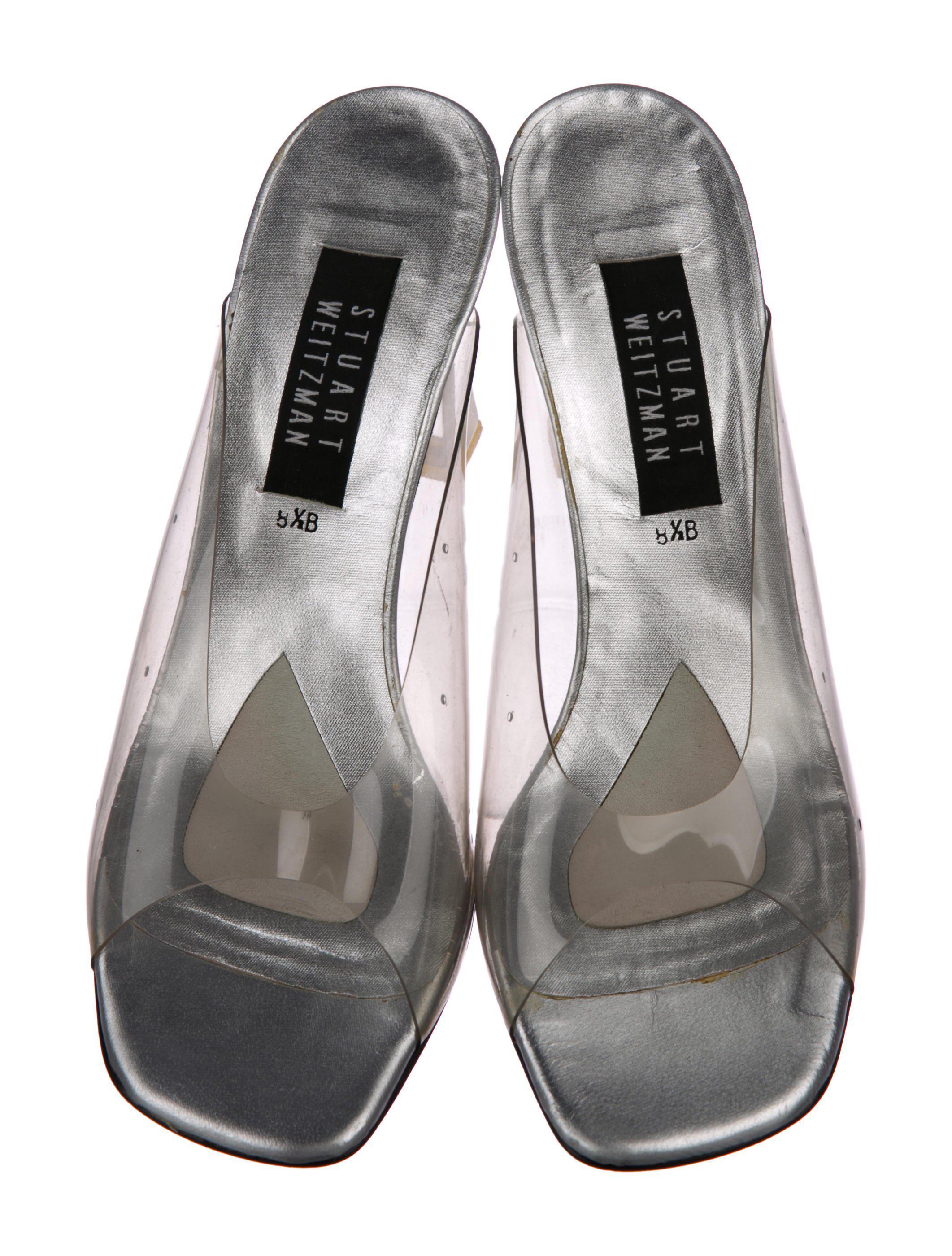 9f60f4a93e274e ... Metallic Pvc Slide Sandals Clear - Lyst. View fullscreen