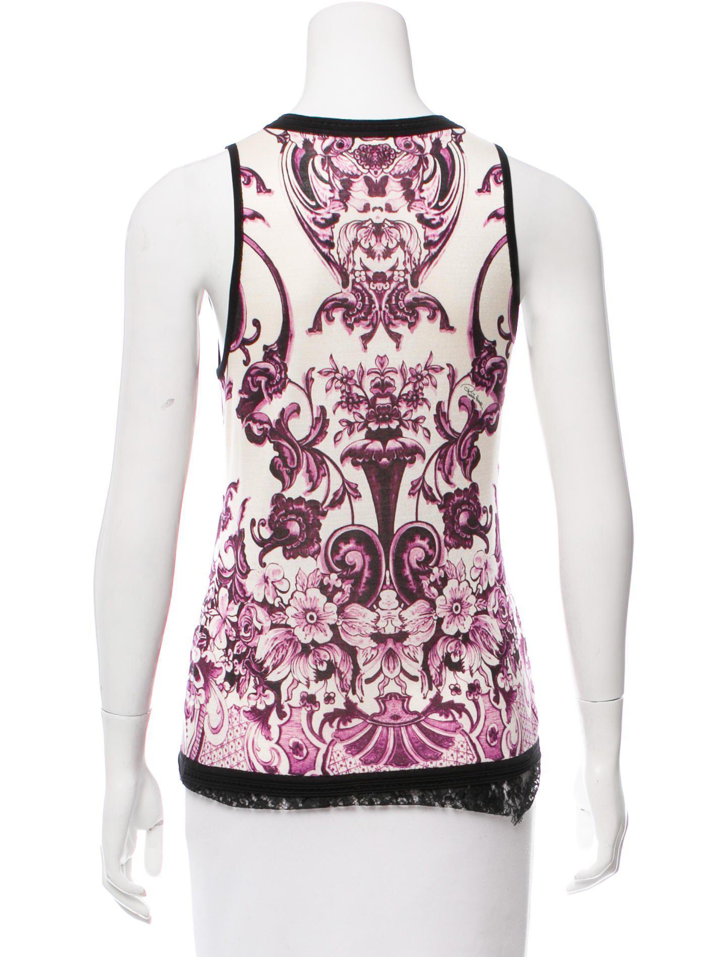 489480fbec0fa5 Lyst - Roberto Cavalli Lace-trimmed Silk Top in Purple