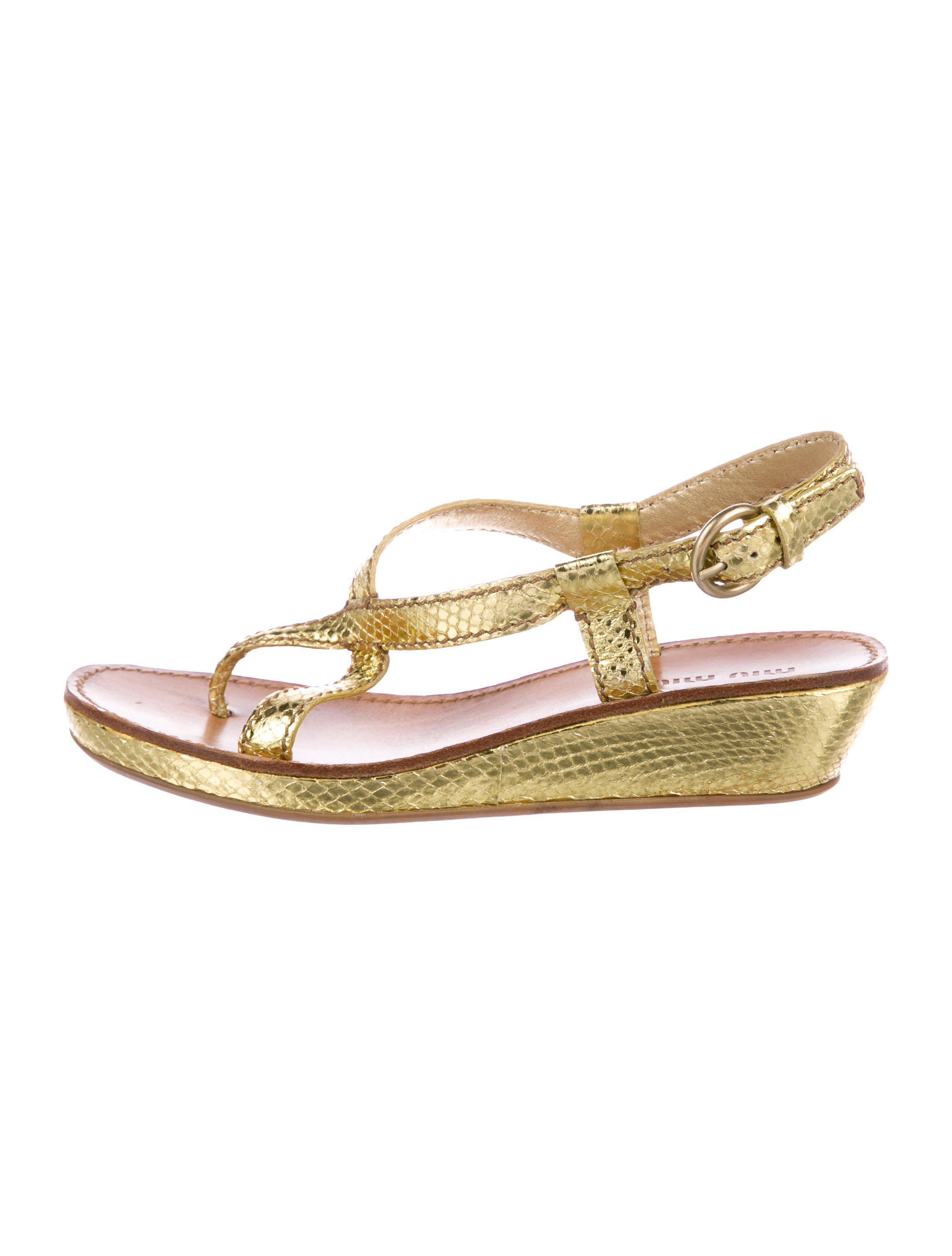 54694c604 Lyst - Miu Miu Miu Slingback Sandals Gold in Metallic
