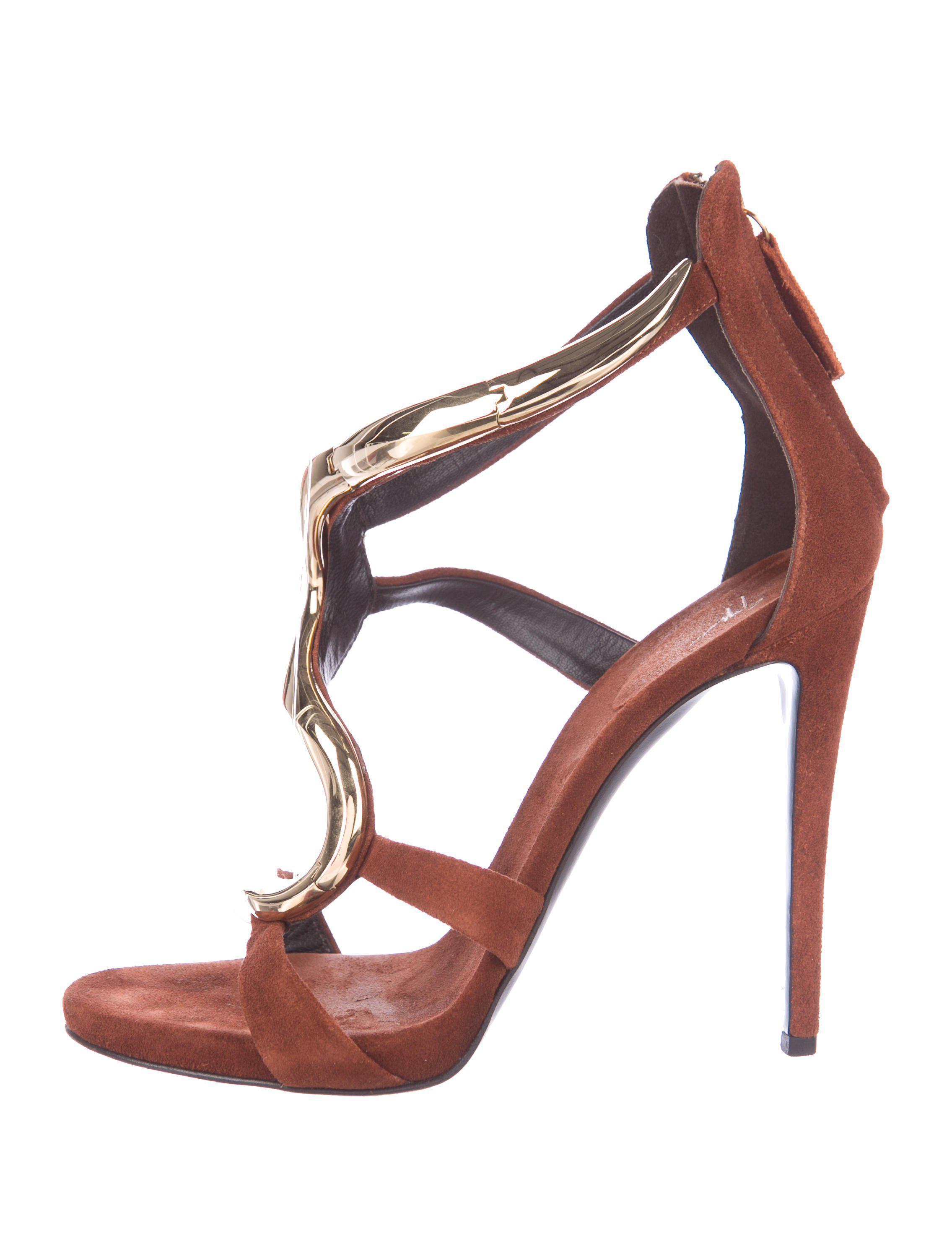 2e194624da Lyst - Giuseppe Zanotti Suede Embellished Sandals Brown in Metallic
