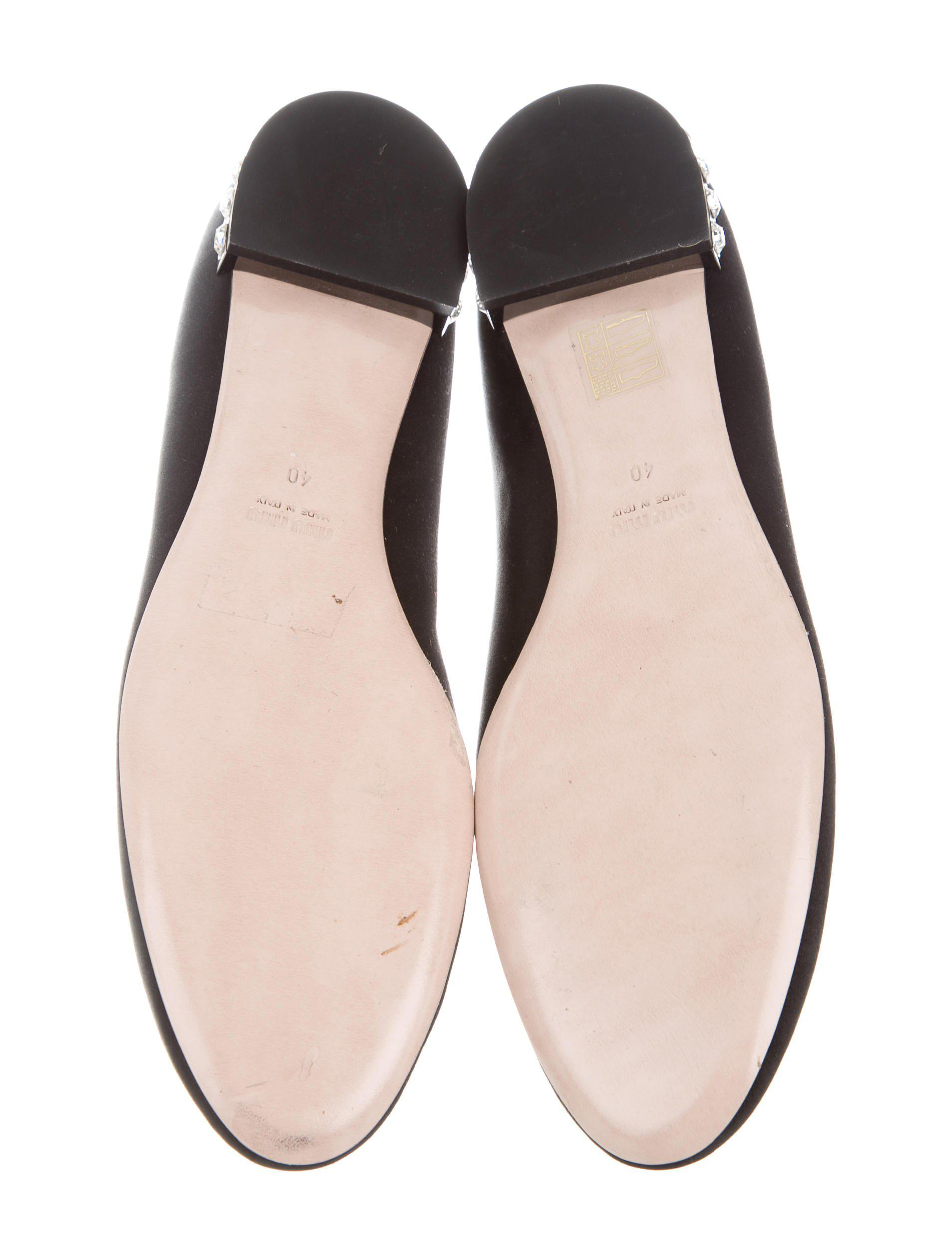 Miu Miu Leather Embellished Flats w/ Tags cheap low cost gfPYC0TR
