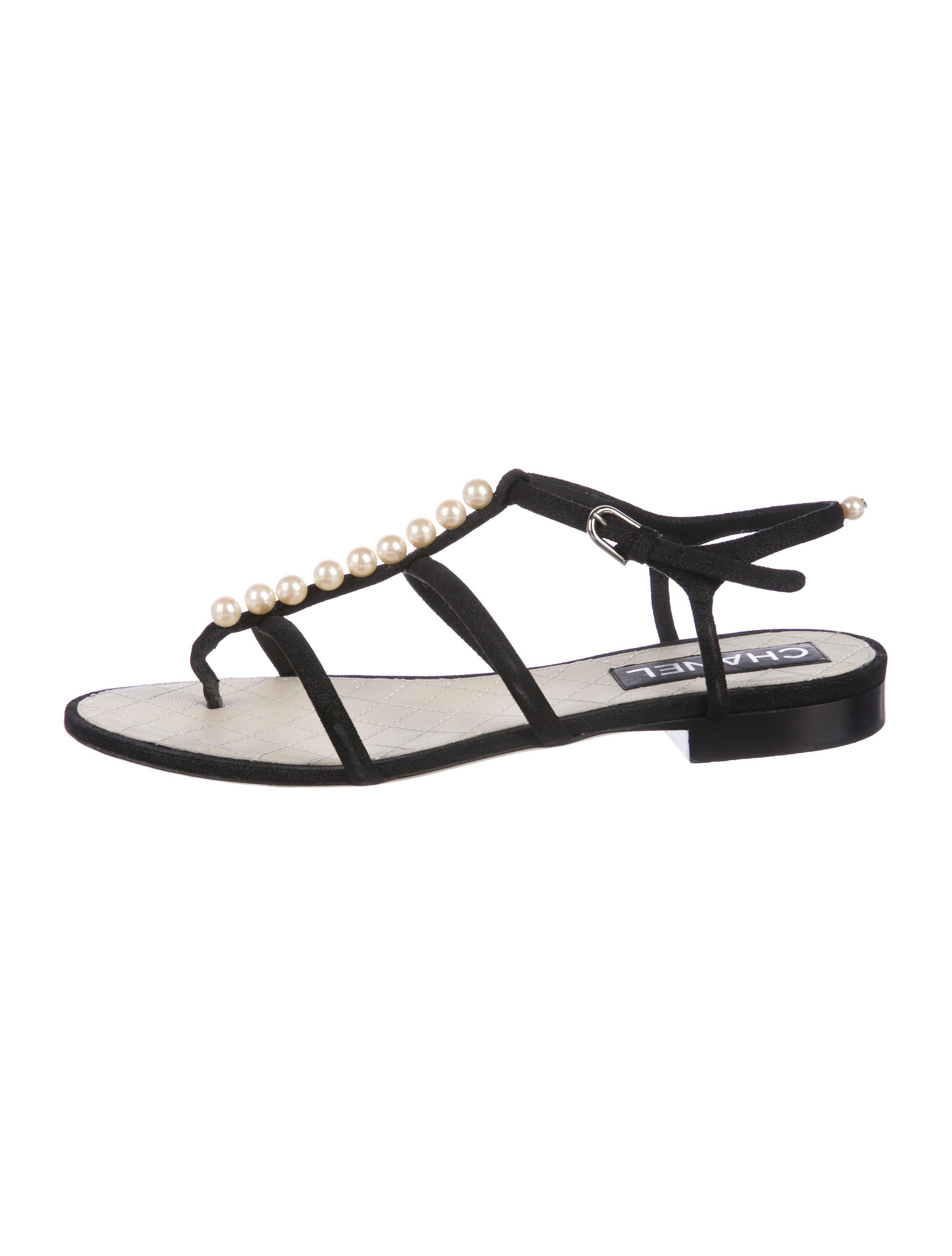 8a592435b136 Lyst - Chanel Embellished Thong Sandals Black in Metallic