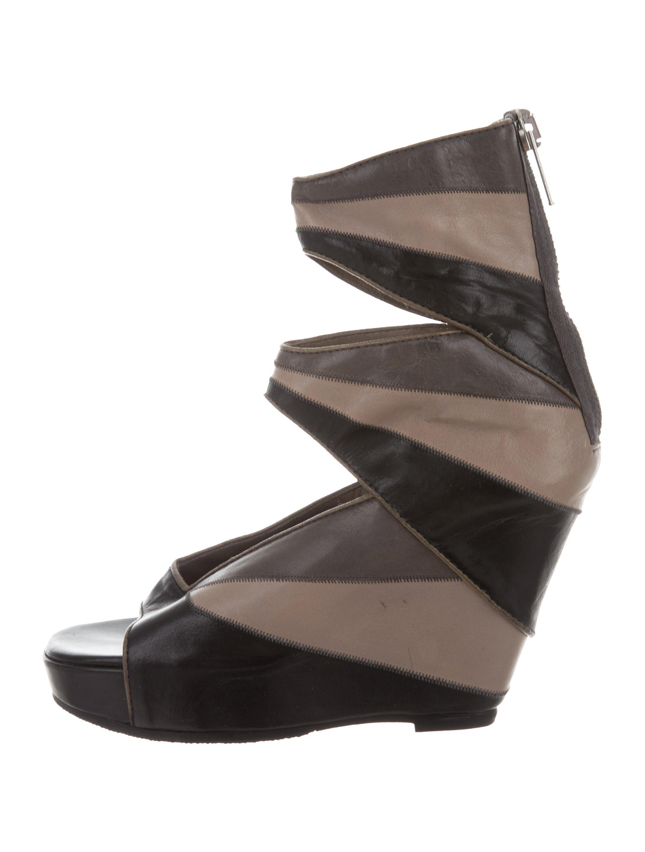 05662acf6a1 Lyst - Rick Owens Leather Knee-high Wedge Sandals Black in Gray