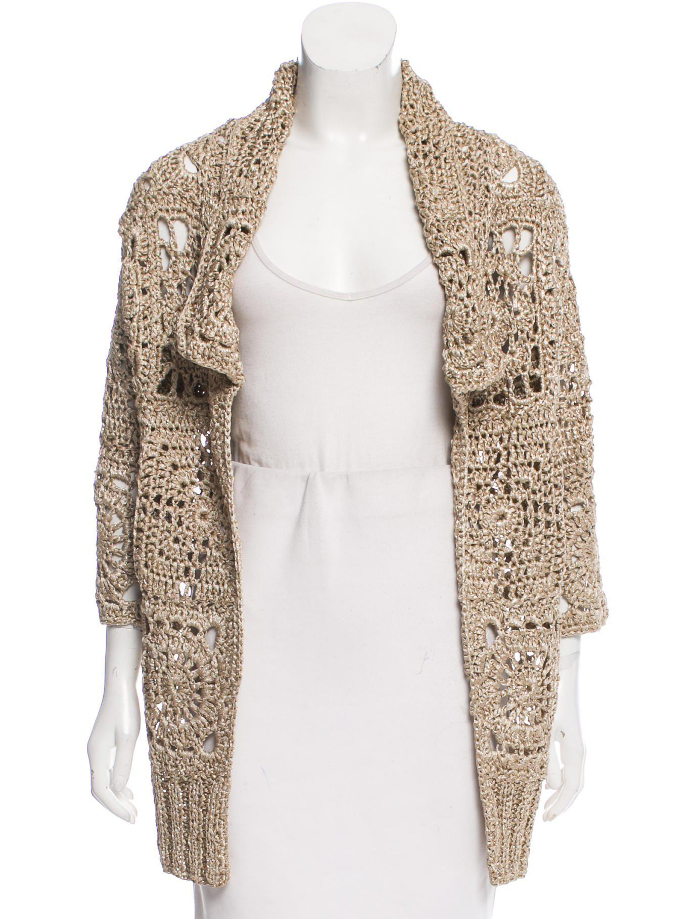 Dries van noten Open Front Cardigan Gold in Metallic | Lyst