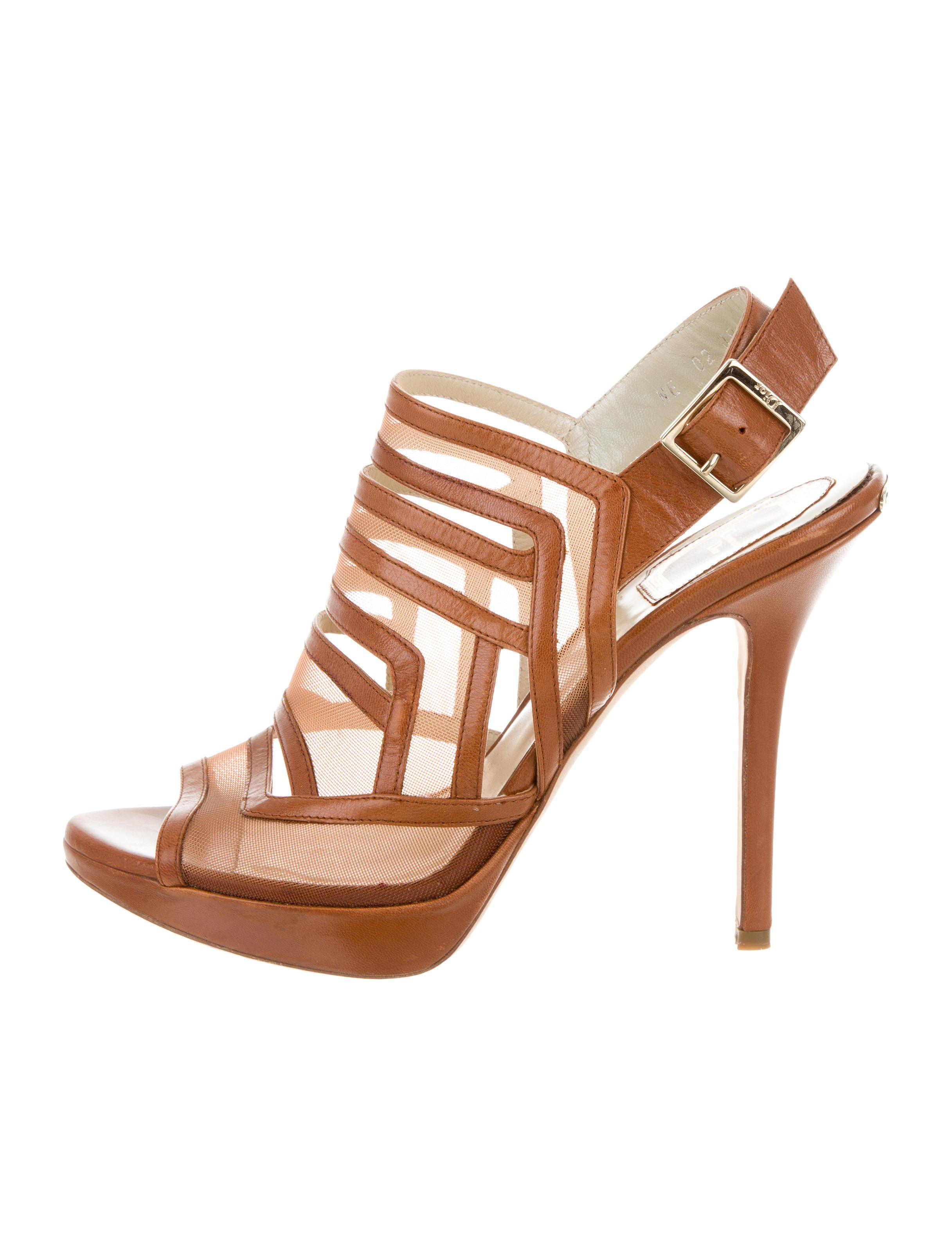 b3e30a89b00 Lyst - Dior Mesh Cage Sandals Gold in Metallic