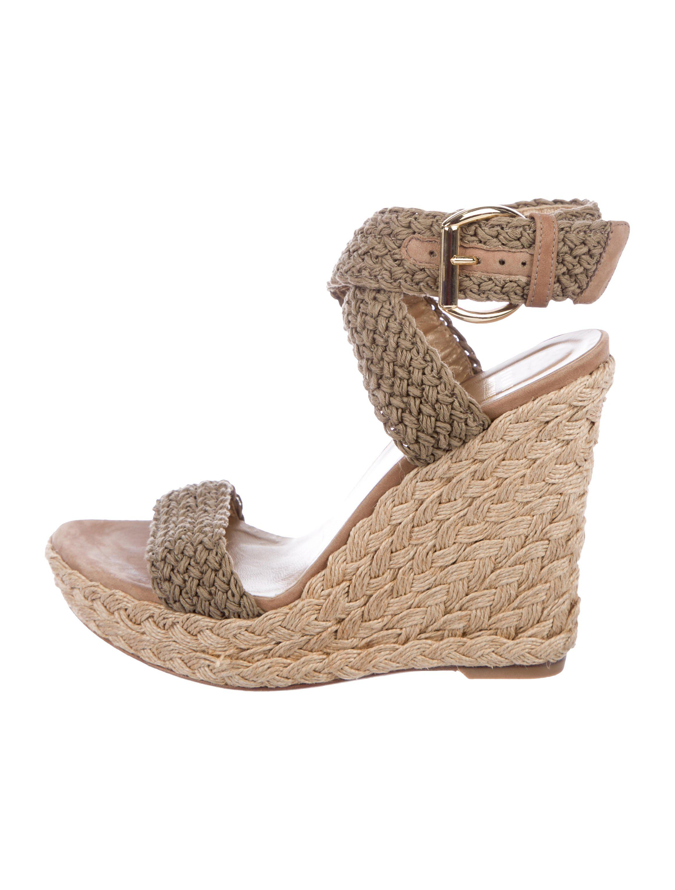ef2c77013577 Lyst - Stuart Weitzman Woven Wedge Sandals Olive in Green