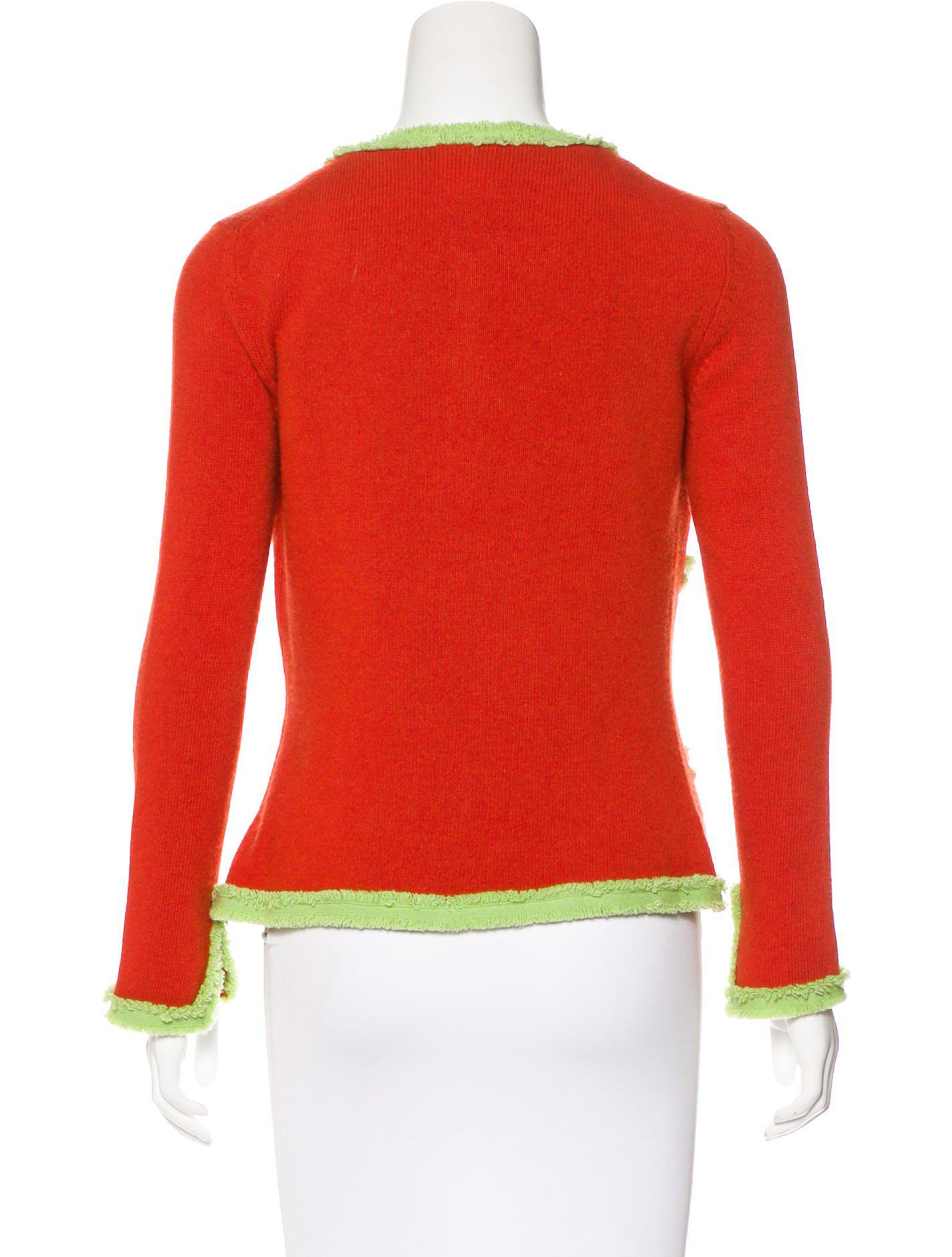Chanel Cashmere Bicolor Cardigan Set Orange in Red | Lyst