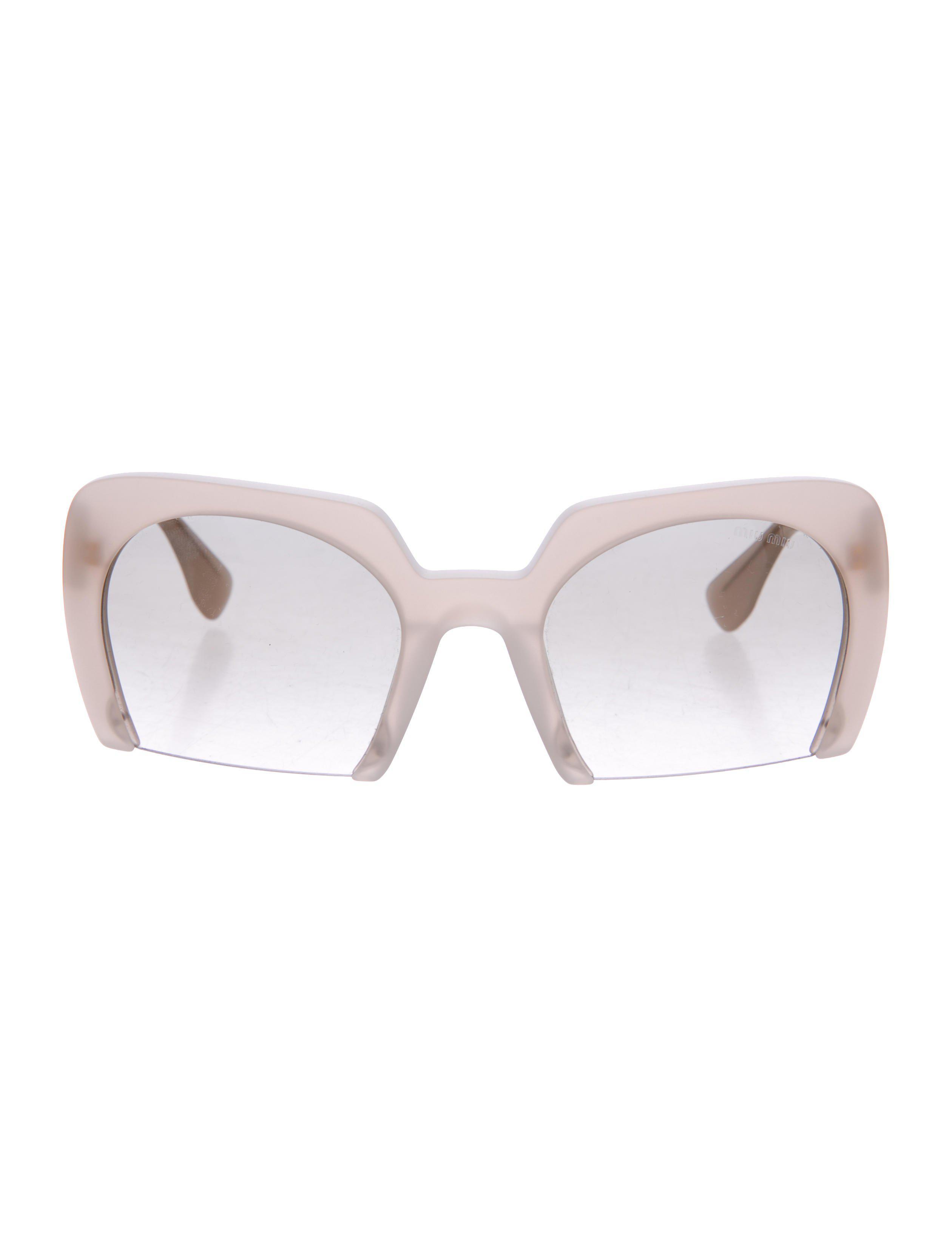 e8aefcdb0edb Lyst - Miu Miu Miu Half-rim Tinted Sunglasses Beige in Natural