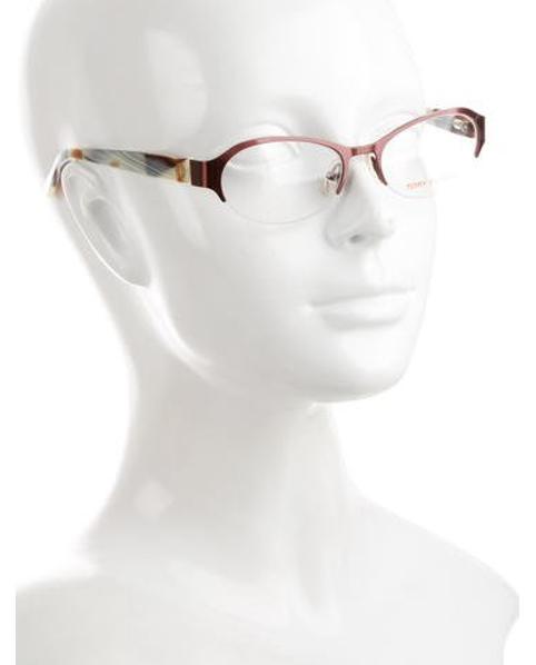 lyst tory burch oval frame eyeglasses in metallic  view fullscreen