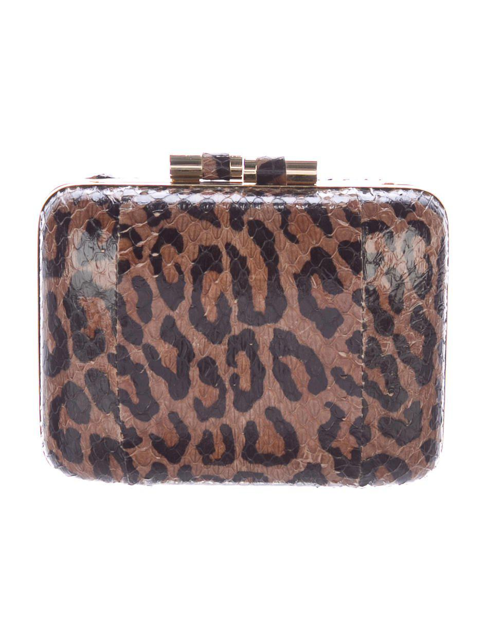 7bfc575987d65 Lyst - Brian Atwood Printed Snakeskin Taylor Clutch Brown in Metallic