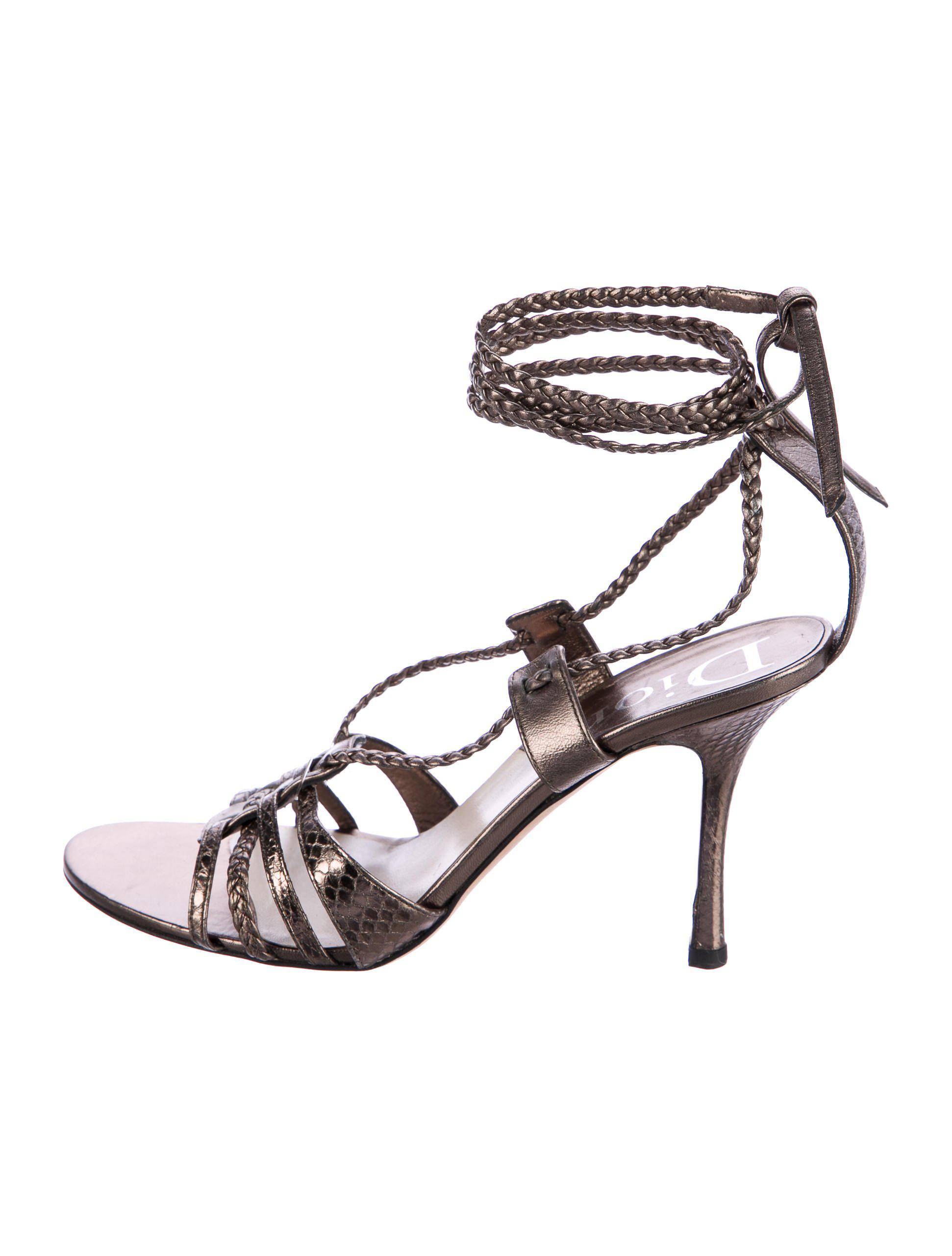 Christian Dior Embossed Multistrap Platform Sandals clearance low price xZ5UHS