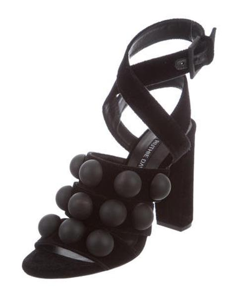 fe496c71e Lyst - Ruthie Davis Ashlee Velvet Sandals in Black