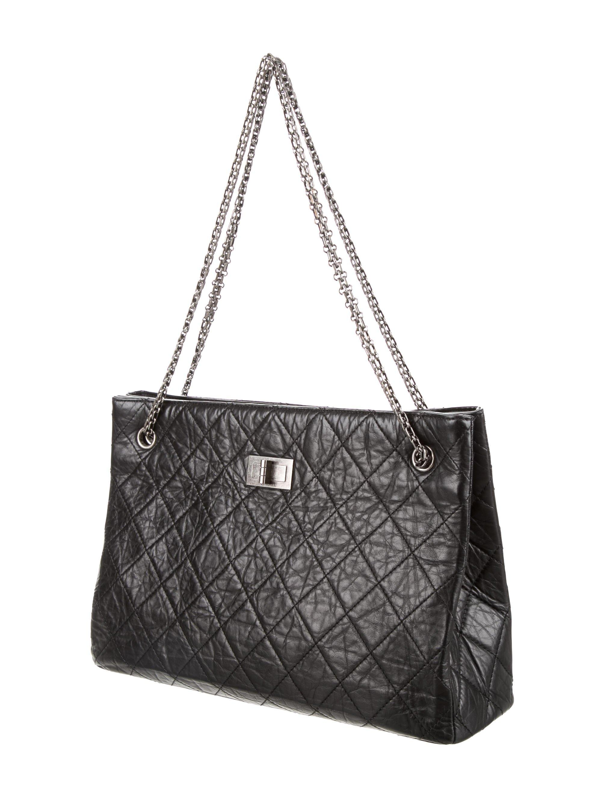 cdc710be5eaa Lyst - Chanel Aged Calfskin Reissue Tote Black in Metallic