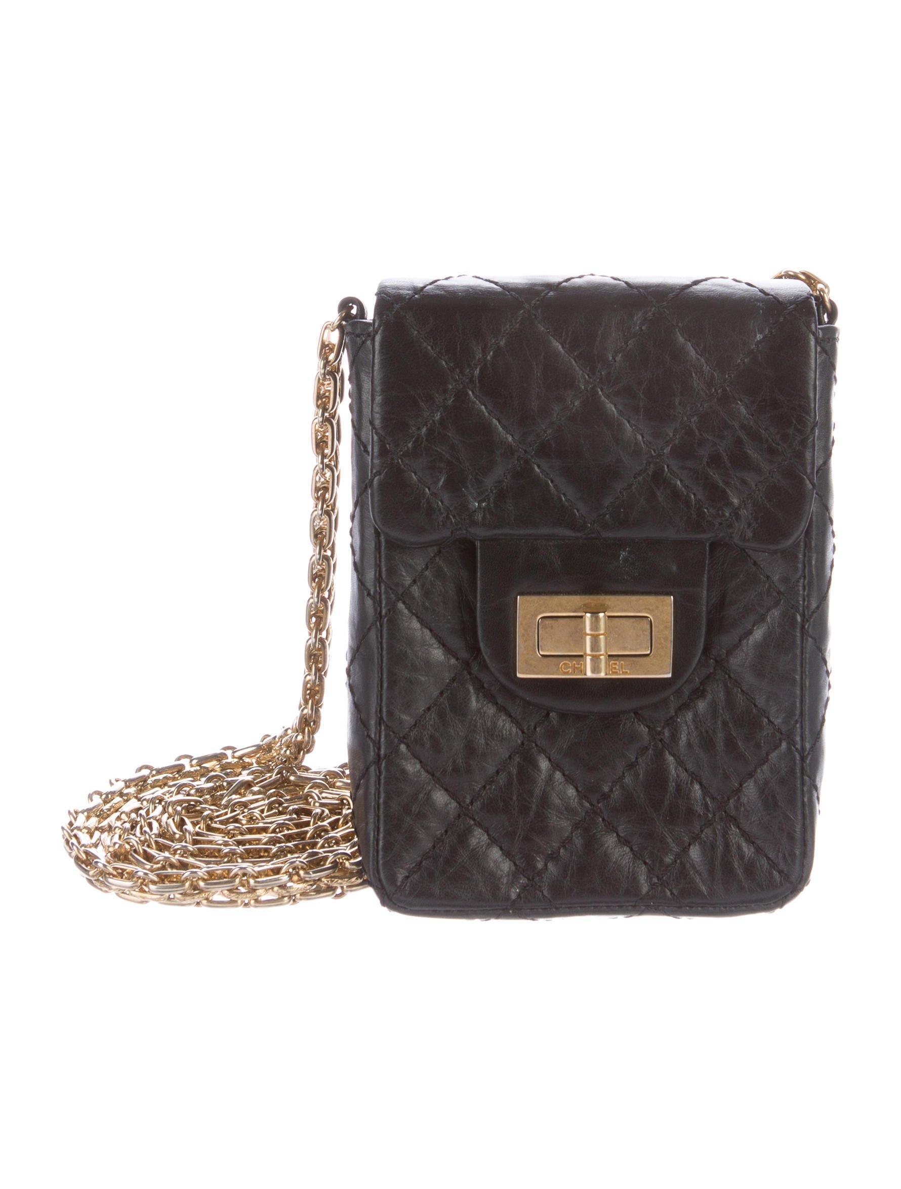 3571e9a5983c Lyst - Chanel 2.55 Reissue Crossbody Phone Holder Black in Metallic
