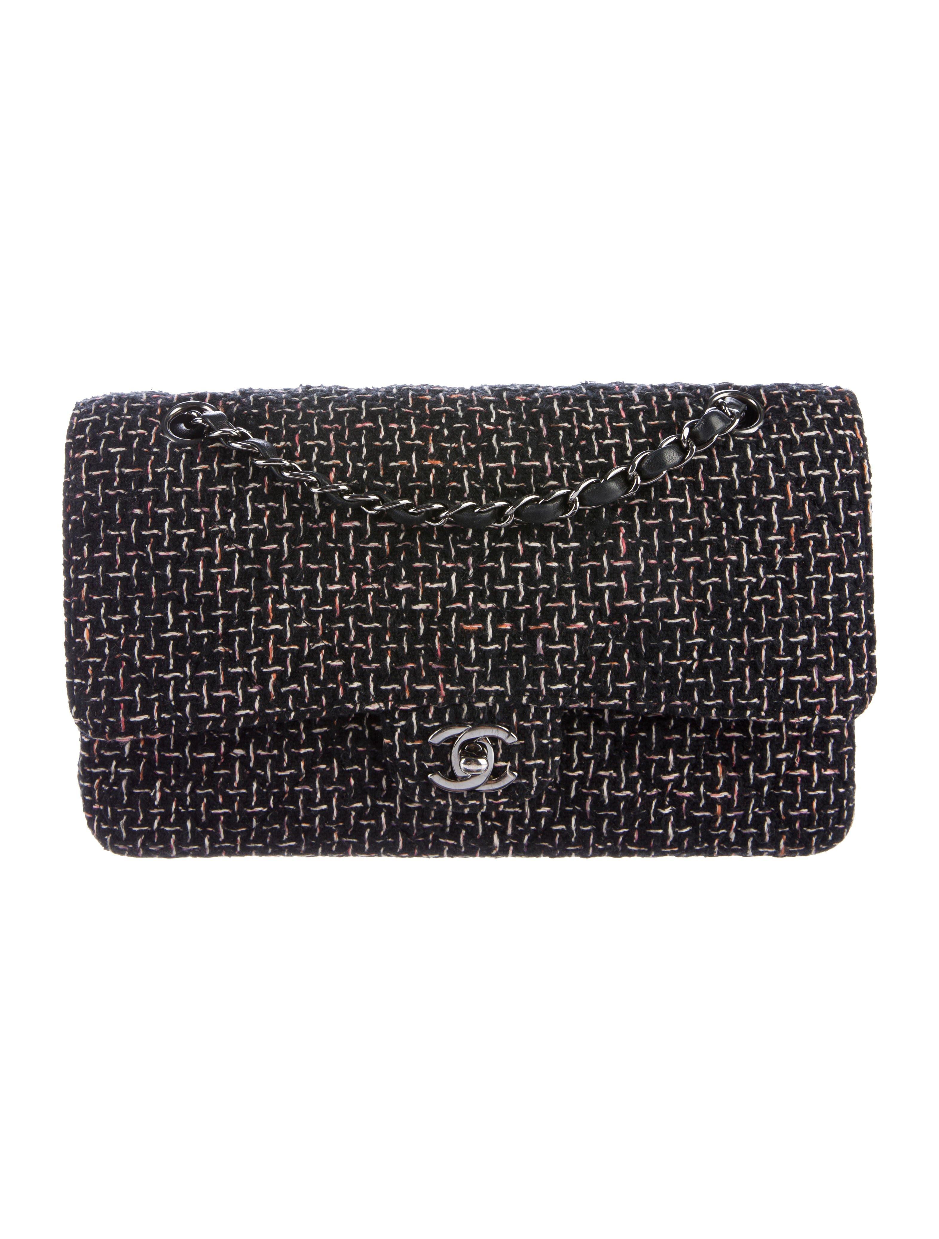 cb84adb7ff53 Lyst - Chanel Quilted Medium Tweed Double Flap Bag Black in Metallic