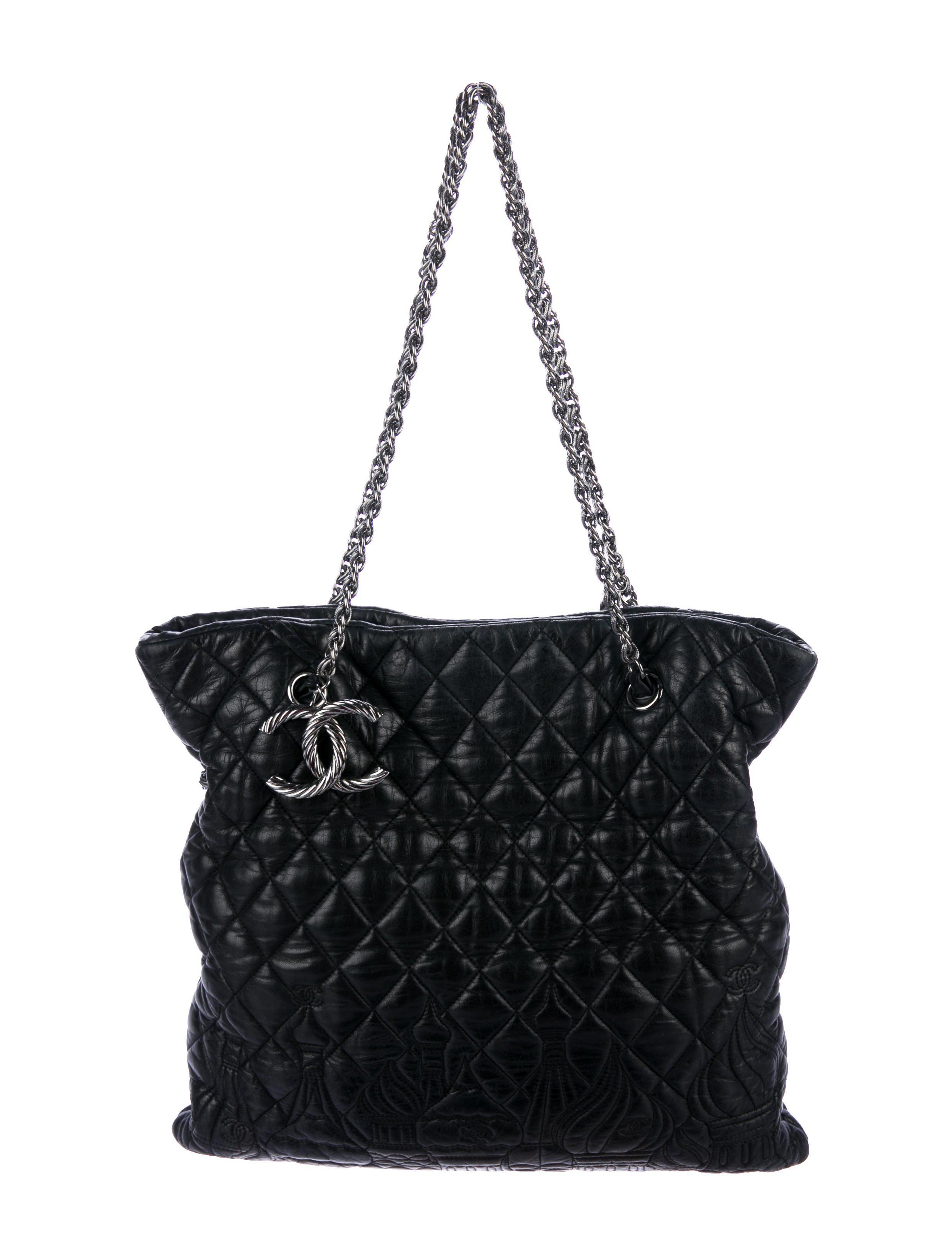 cae47004645 Lyst - Chanel Red Square Kremlin Tote in Black