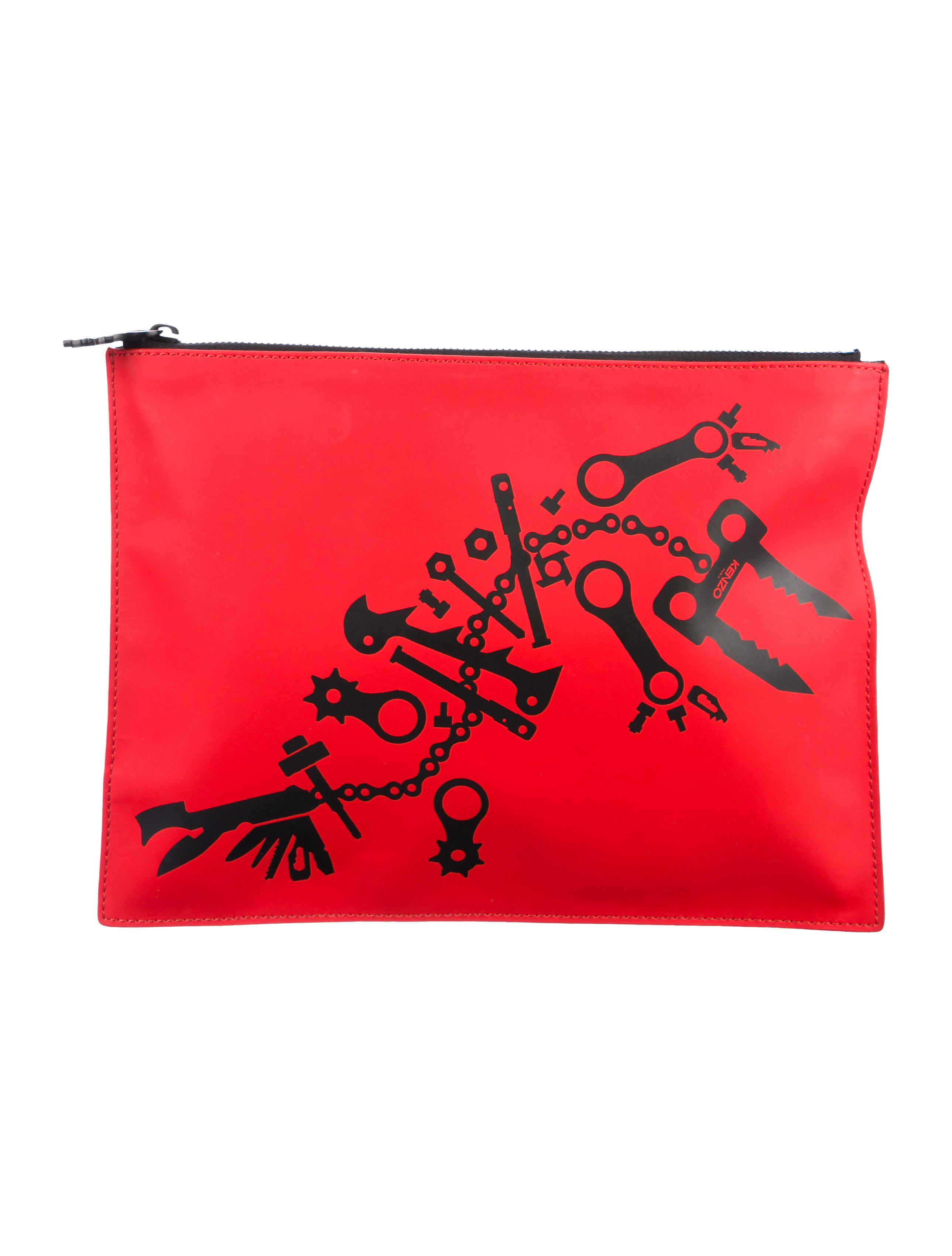 02c315b9 Lyst - Kenzo Coated Canvas Zip Pouch in Red