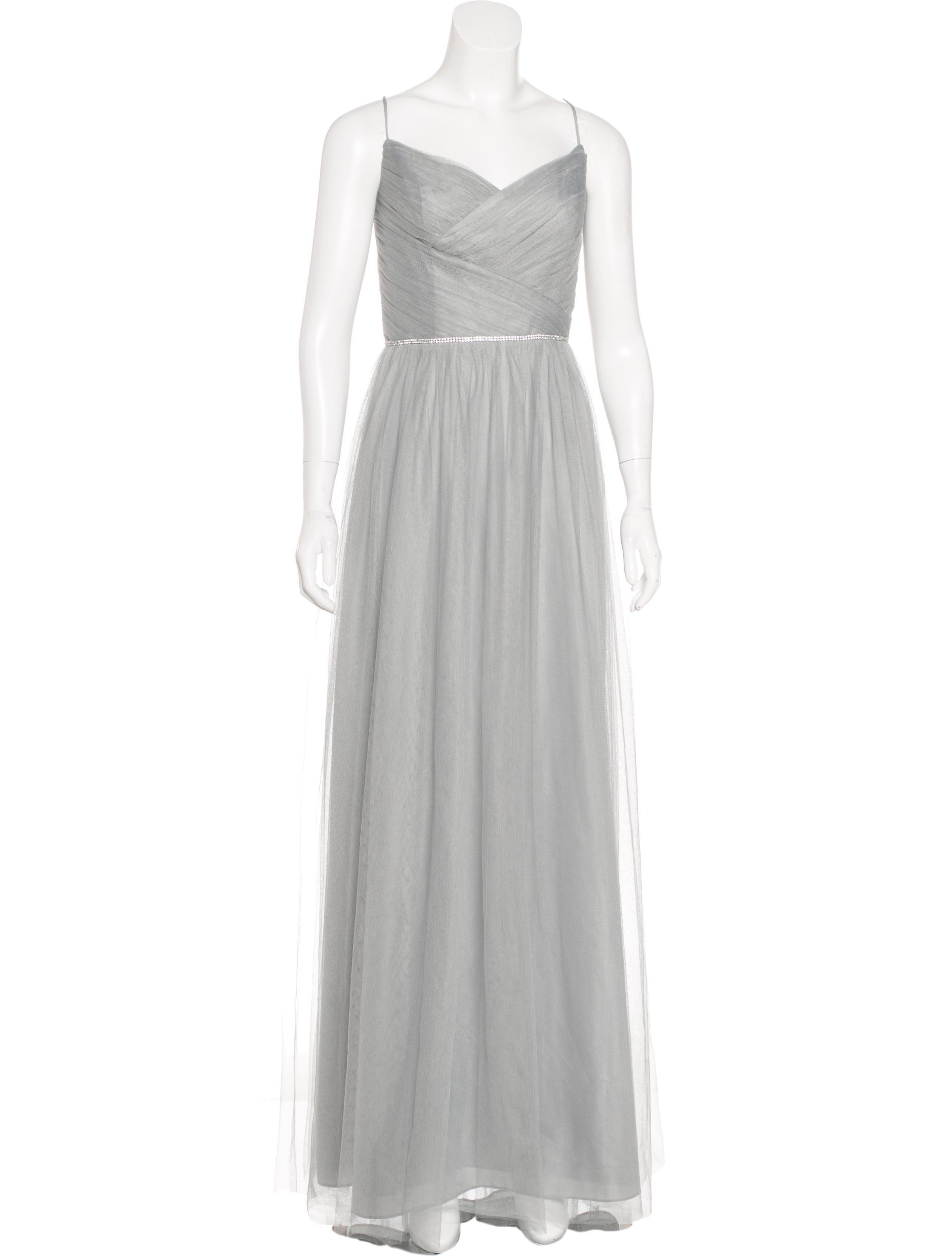 Lyst - Monique Lhuillier Bridesmaids Tulle Evening Dress Grey in Gray