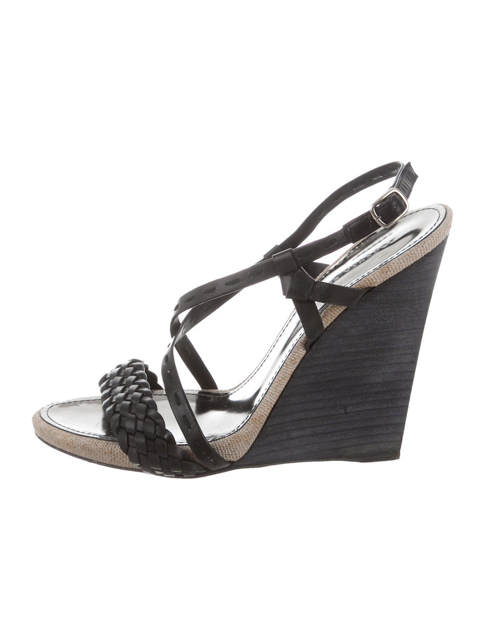 91f72d421744 Lyst - Proenza Schouler Leather Wedge Sandals in Black