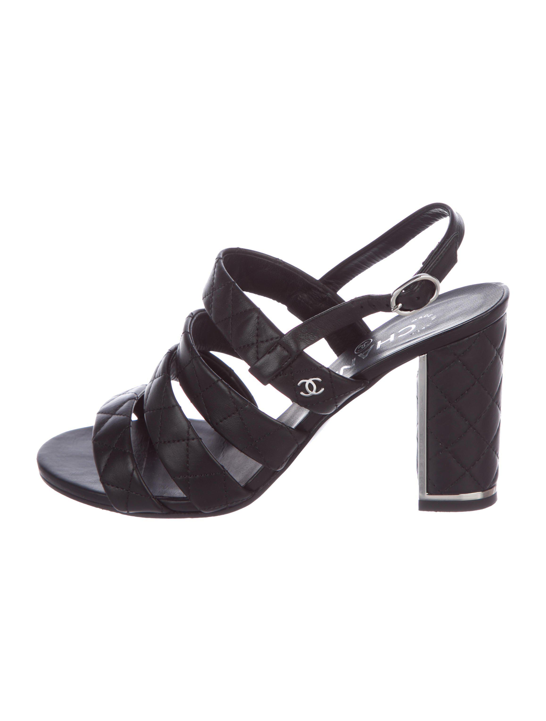 e36efa2acae1 Lyst - Chanel 2016 Quilted Sandals Black in Metallic