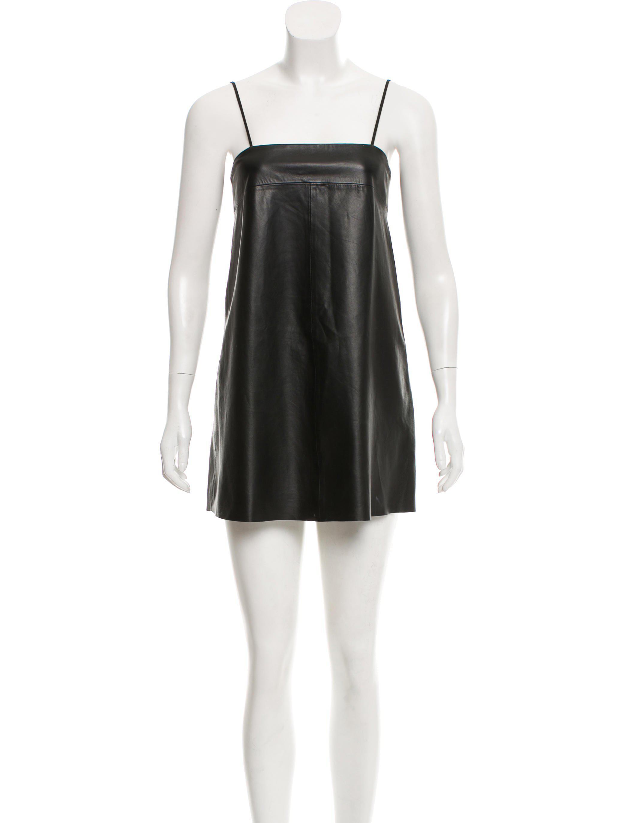 Veda Women S Black Leather Mini Dress