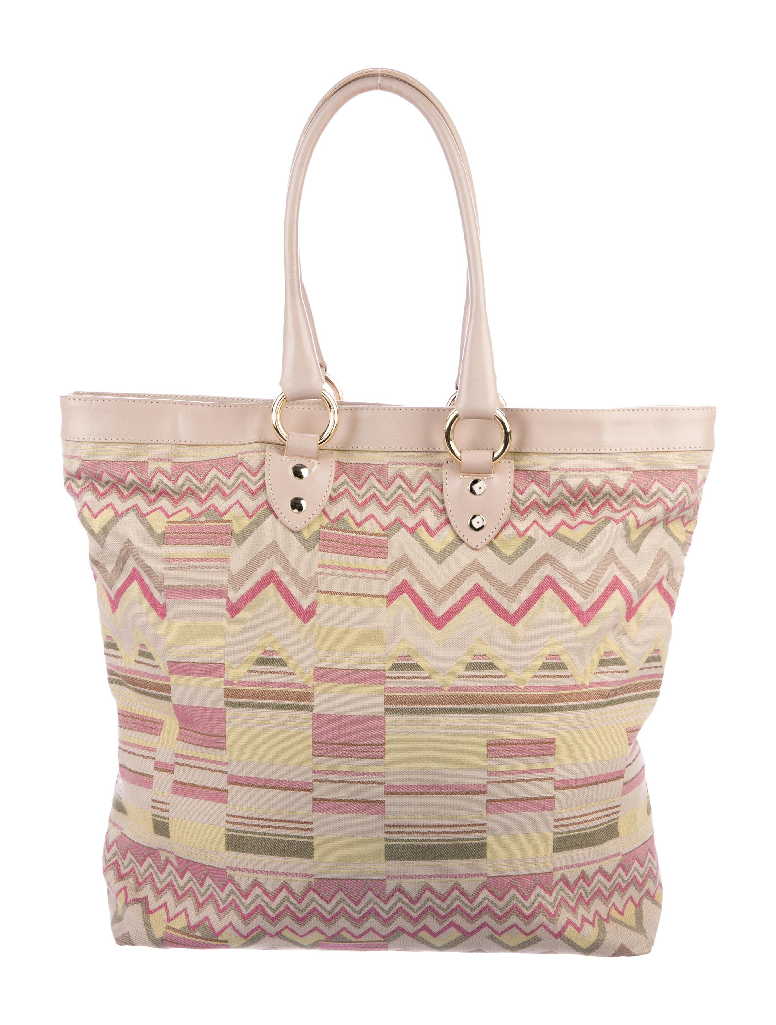18510f3ae13c Lyst - M Missoni Leather-trimmed Woven Tote Beige in Metallic