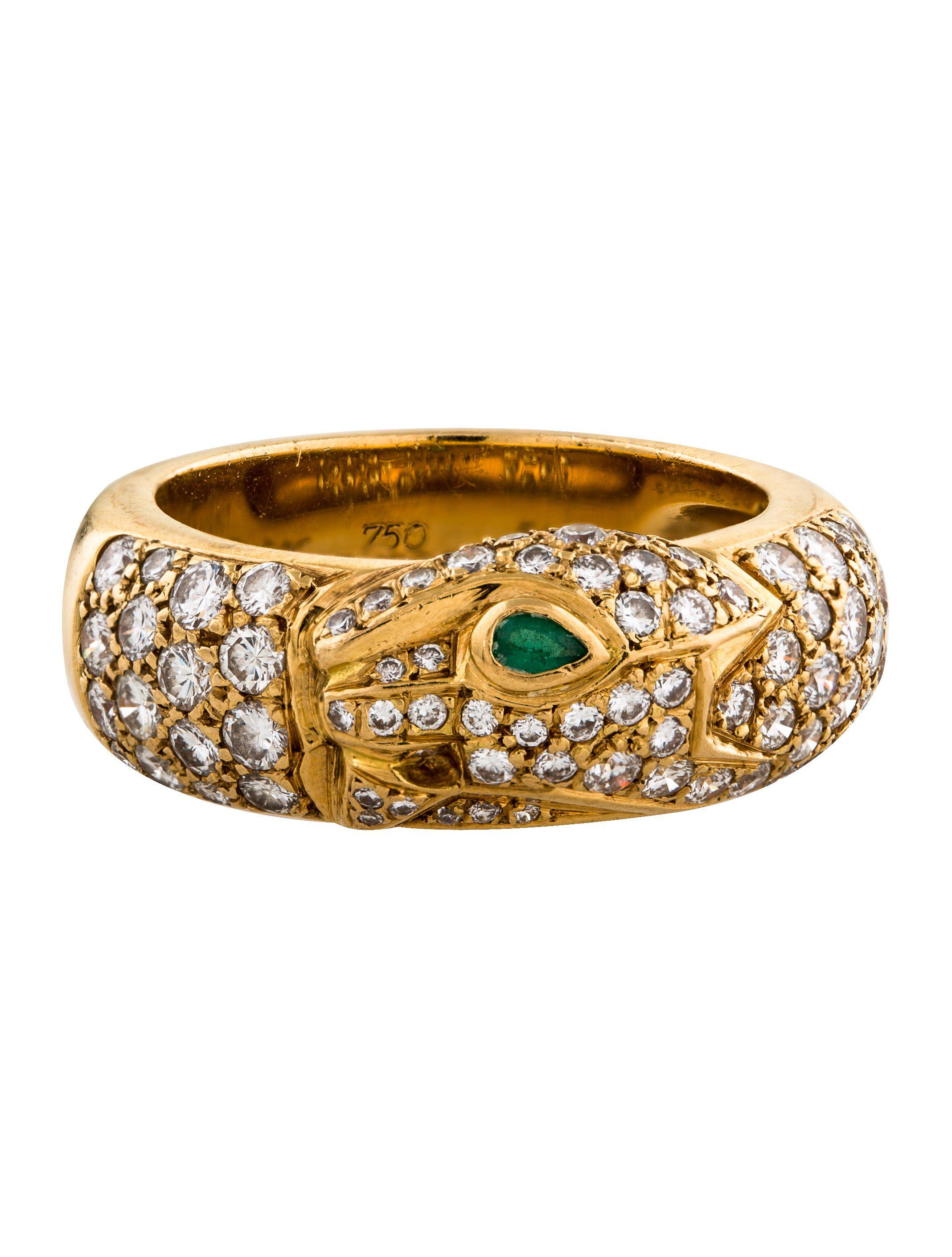 in de jewelry cartier diamond emerald panthere panth band yellow re lyst metallic