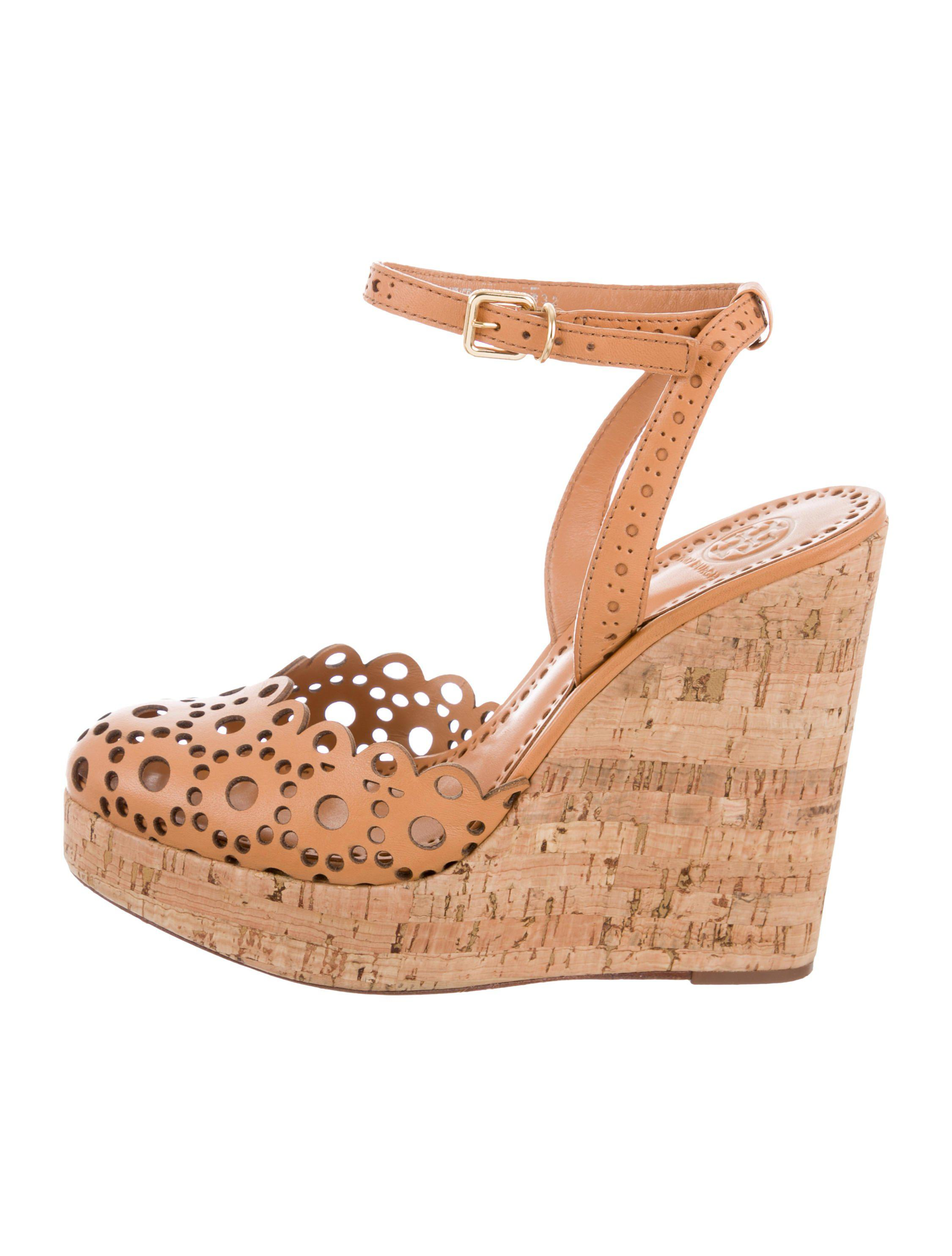 af33fd30616 Lyst - Tory Burch Leather Wedge Sandals in Brown