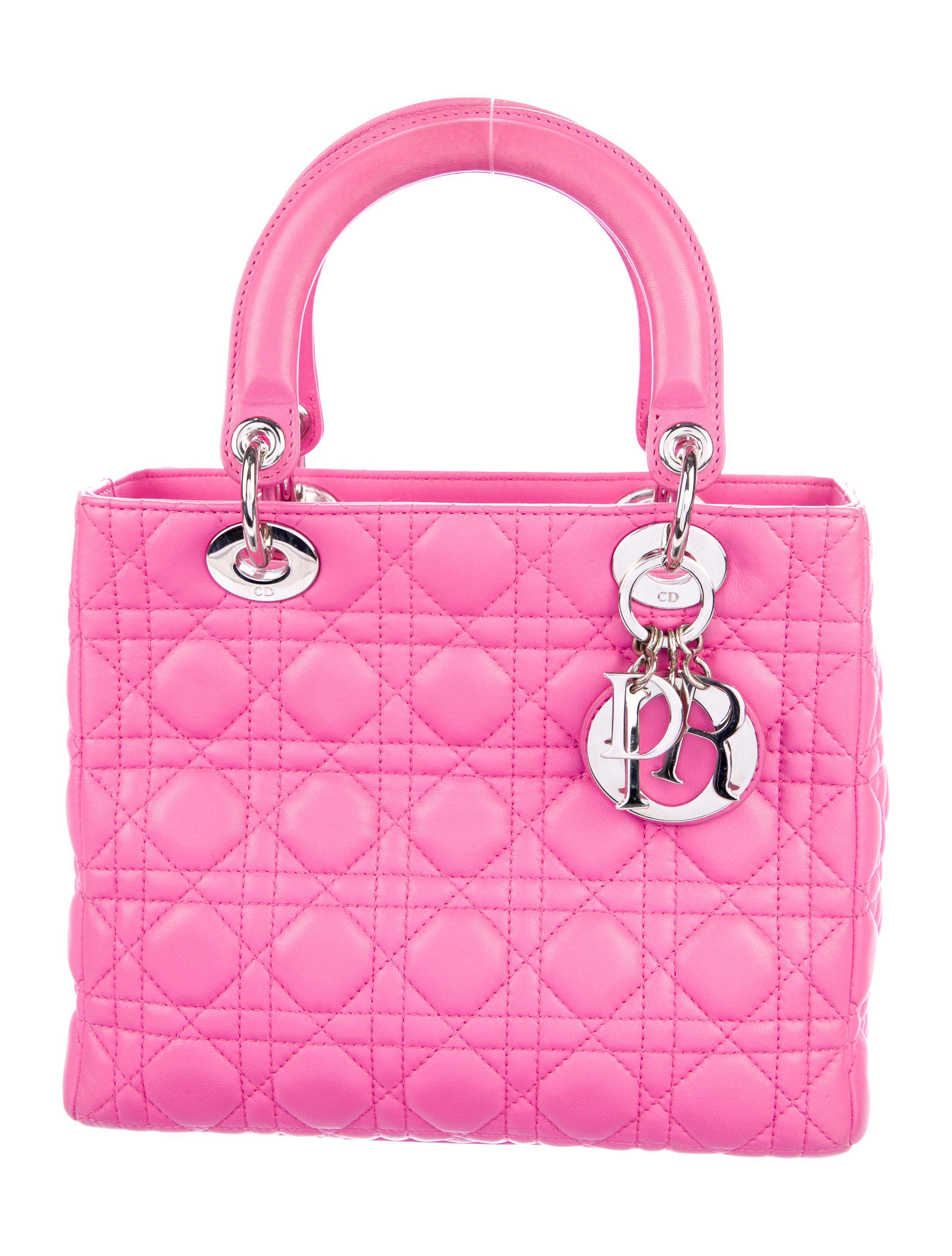 9206cf853619 Lyst - Dior Medium Lady Bag W  Strap Pink in Metallic