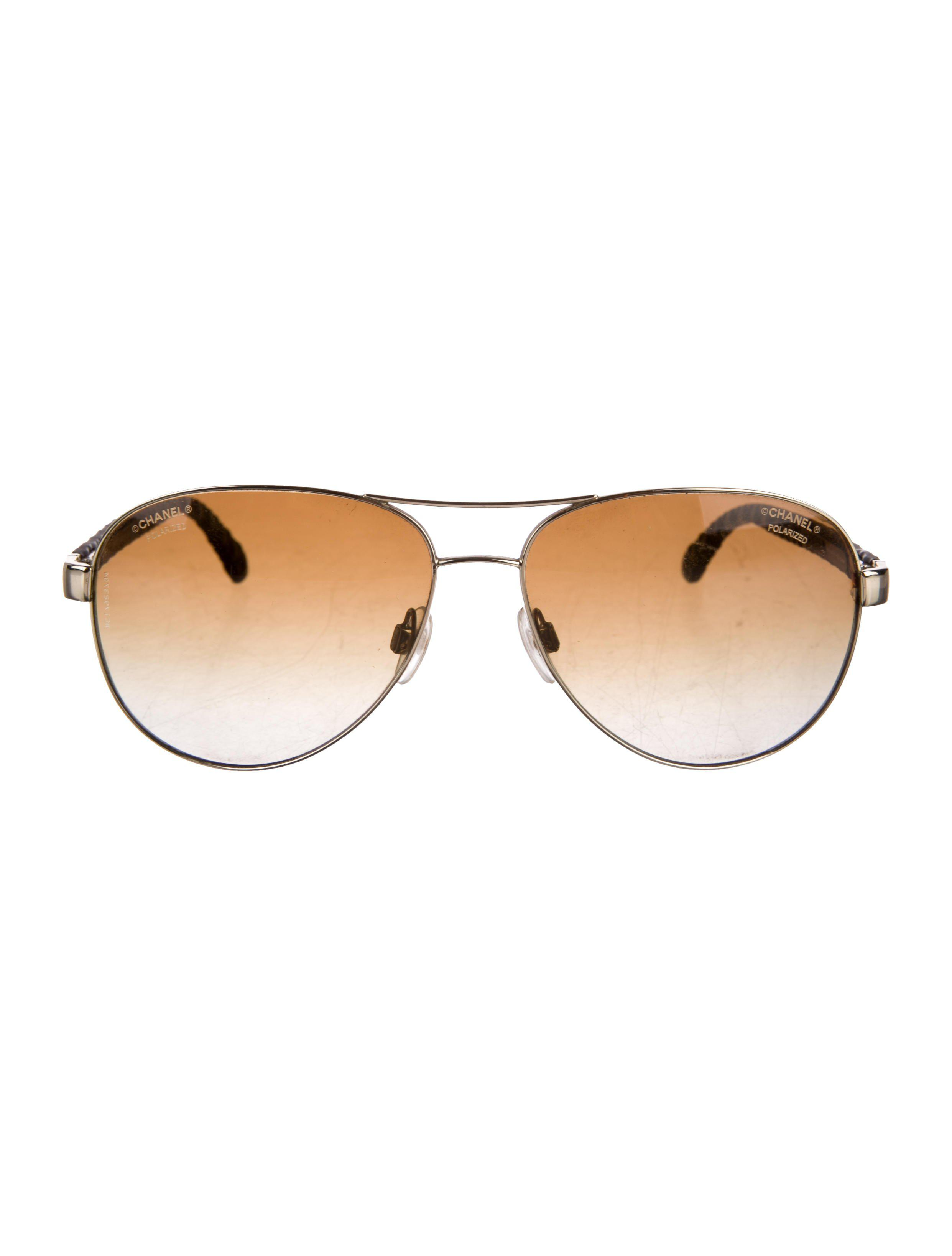 cce0383740 Lyst - Chanel Pilot Quilting Sunglasses Gold in Metallic for Men