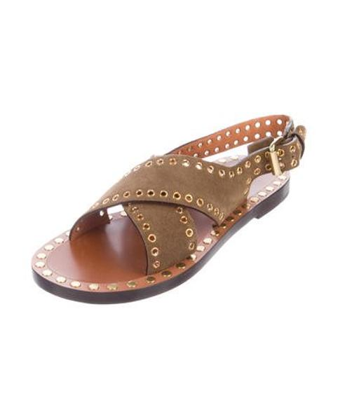 47c8bba26c6b Lyst - Isabel Marant Grommet Suede Sandals W  Tags Olive in Metallic