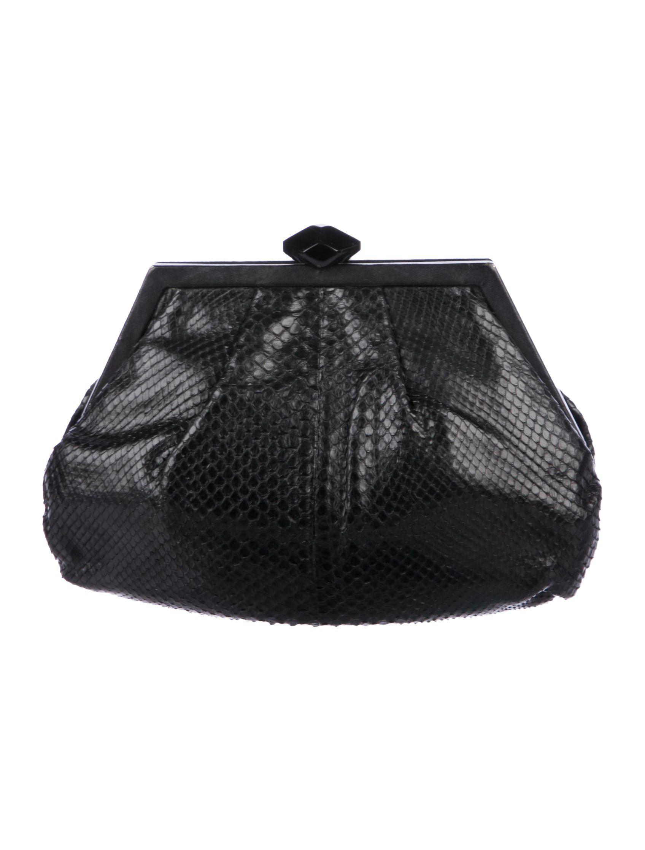 13036b2212 Lyst - Bottega Veneta Snakeskin Frame Clutch Black in Metallic