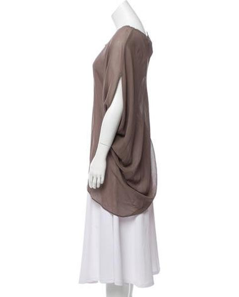 b56e8cfc8841a Lyst - Helmut Lang One-shoulder Silk Top W  Tags in Brown