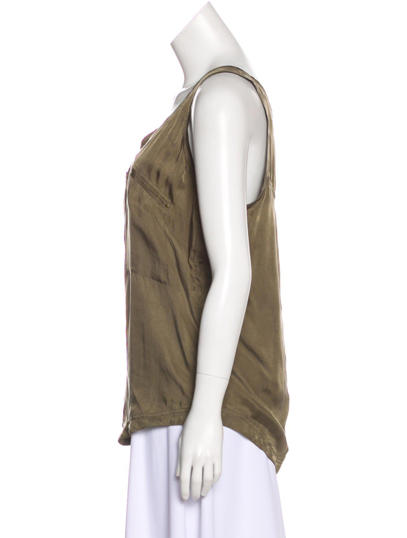 7f3f7119c8c95 Lyst - Diane Von Furstenberg Sleeveless Silk Top Olive in Green