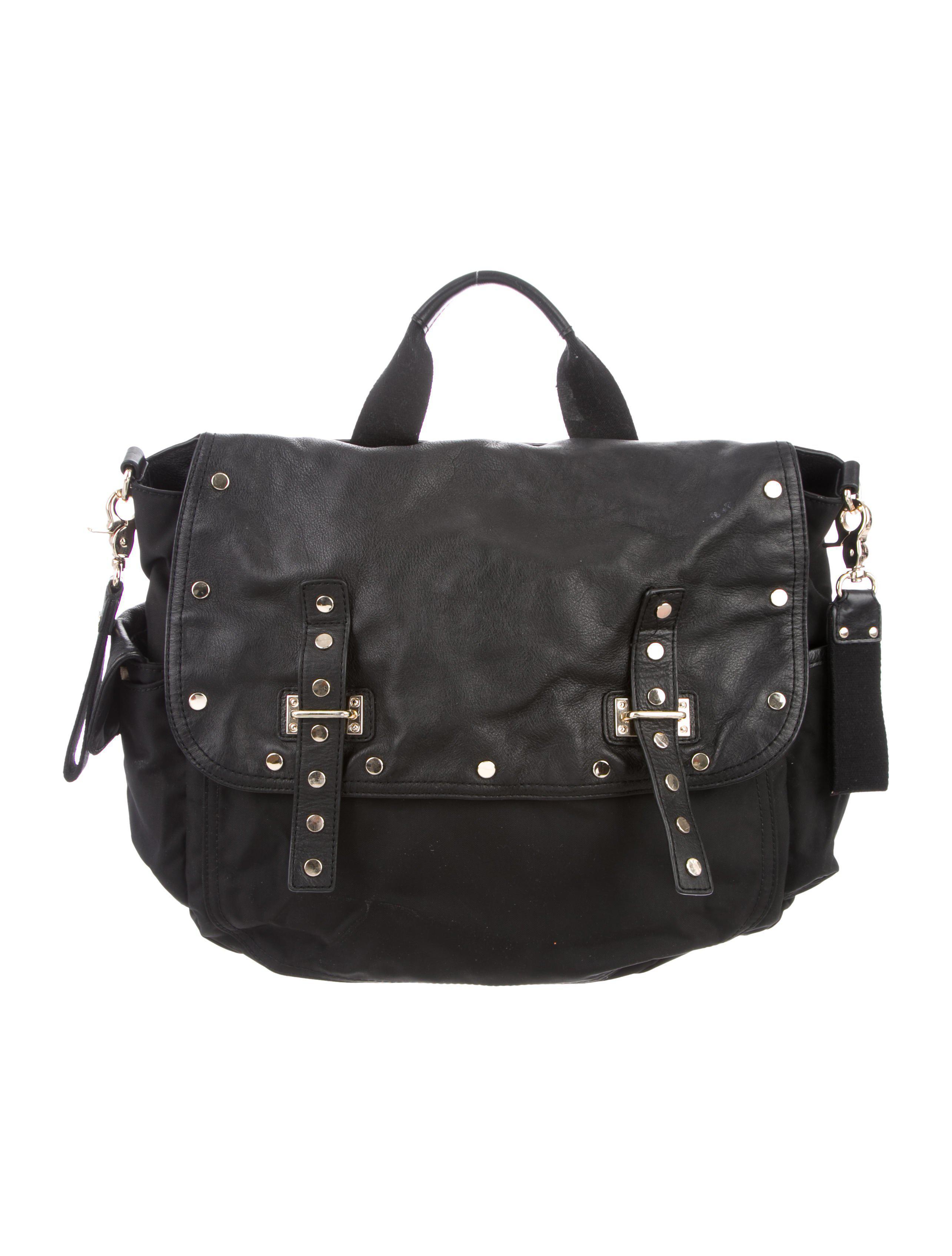 Rebecca Minkoff Women S Metallic Leather Trimmed Diaper Bag Black