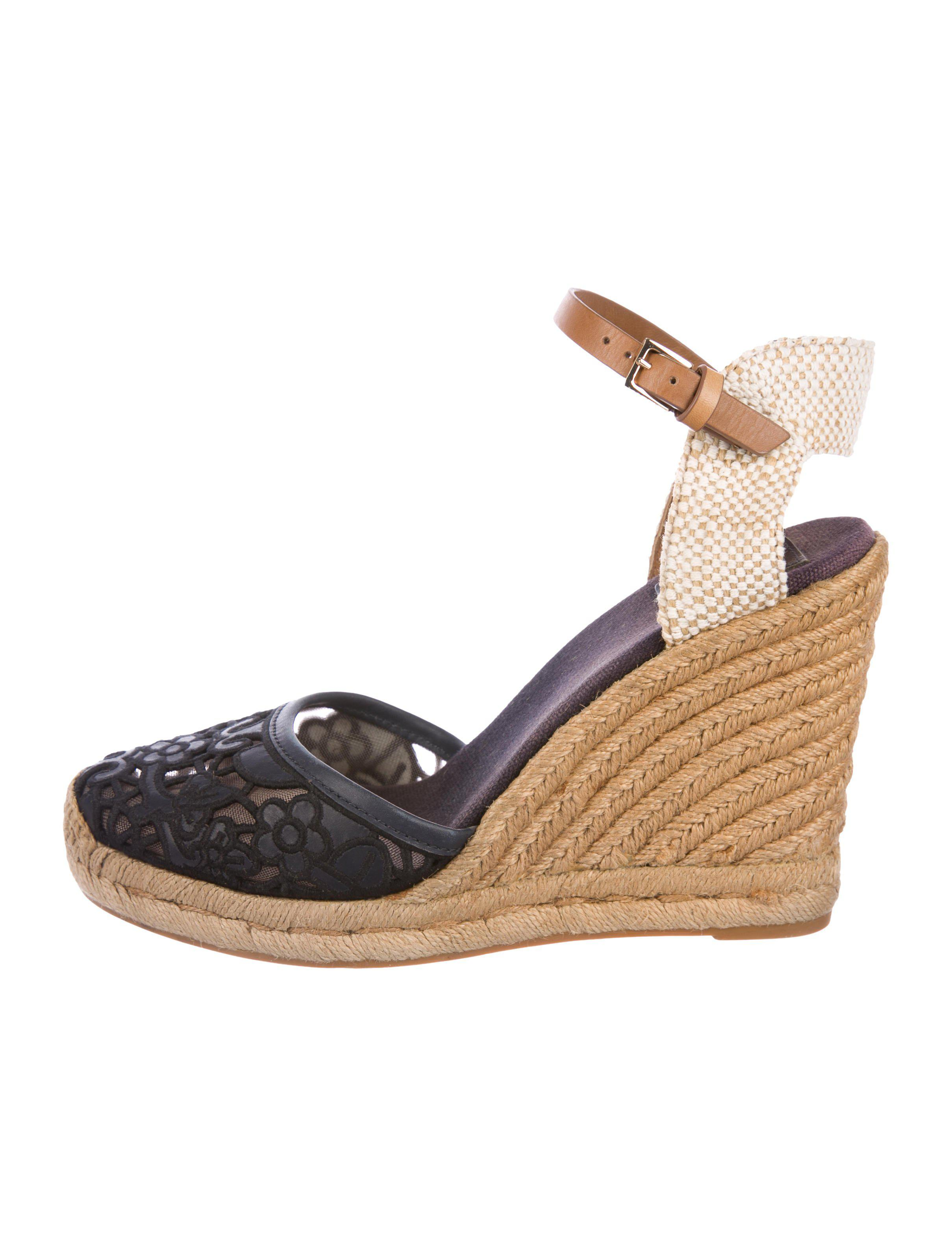 c883b8661 Lyst - Tory Burch Leather Espadrille Wedges in Blue