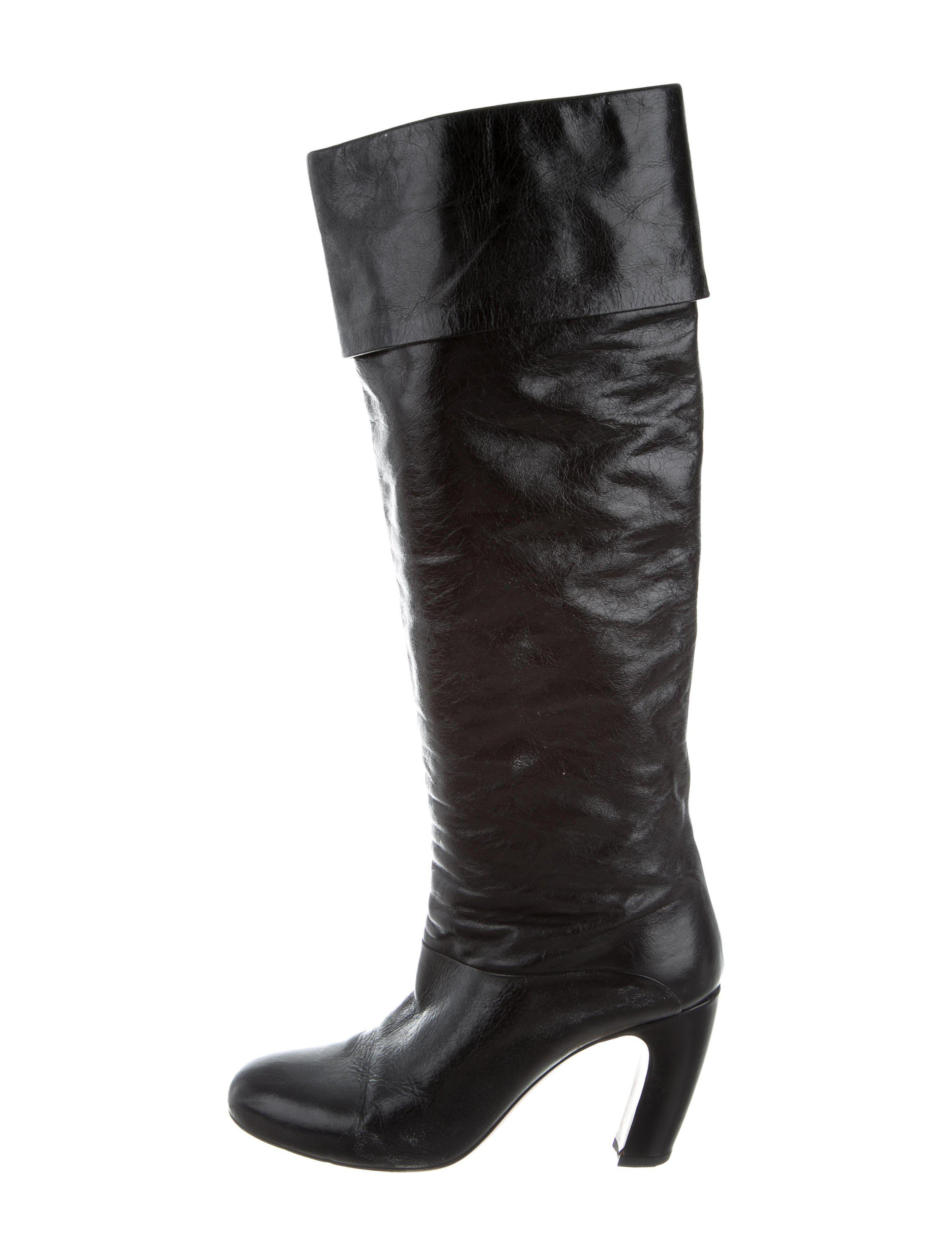 Miu Miu Knee-High Round-Toe Boots discount new arrival free shipping the cheapest discount big sale AwenR