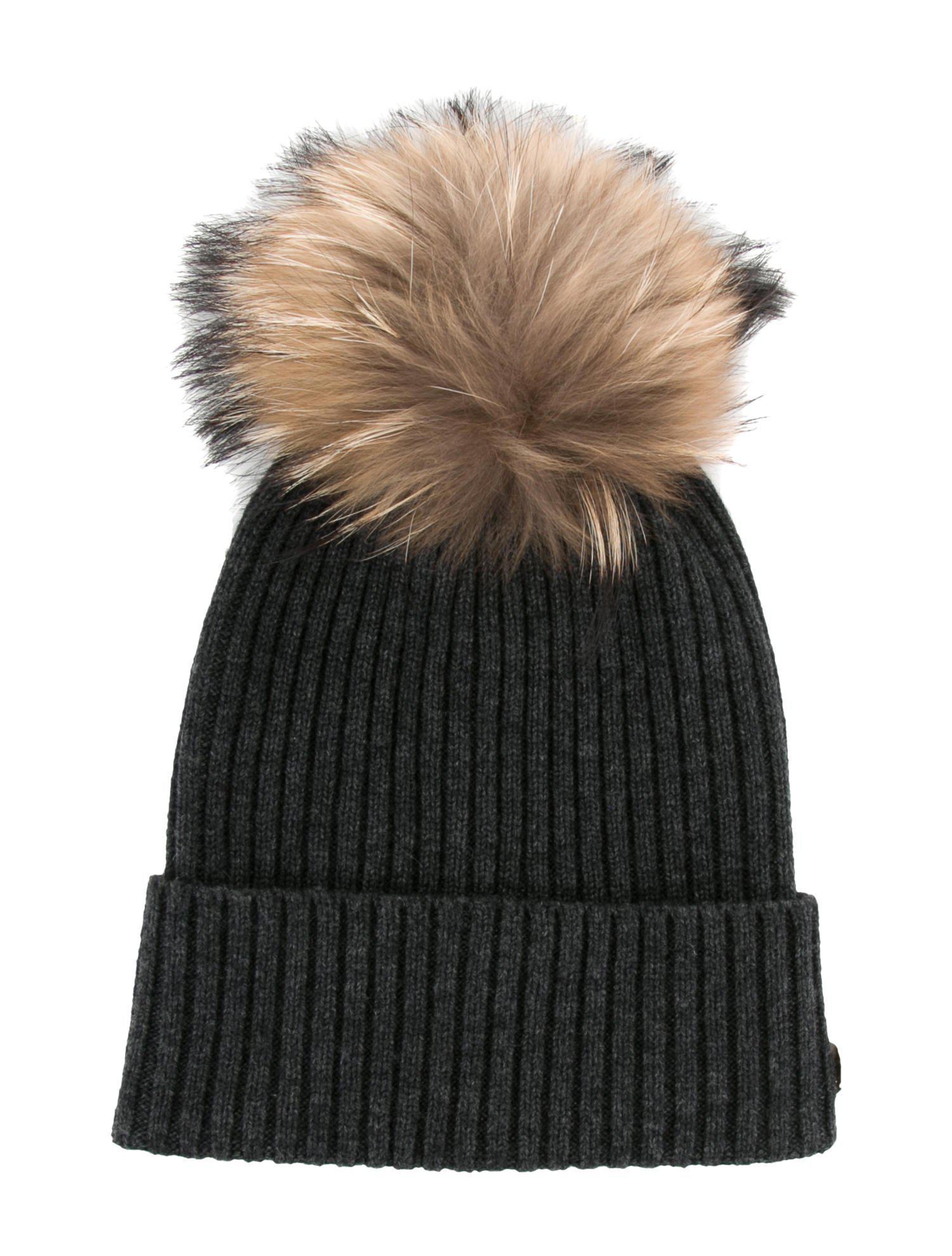 6288c808ec7 ... meet b5329 7b1e2 Yves Salomon. Womens Gray Cashmere Fur-pom Pom Beanie  ...