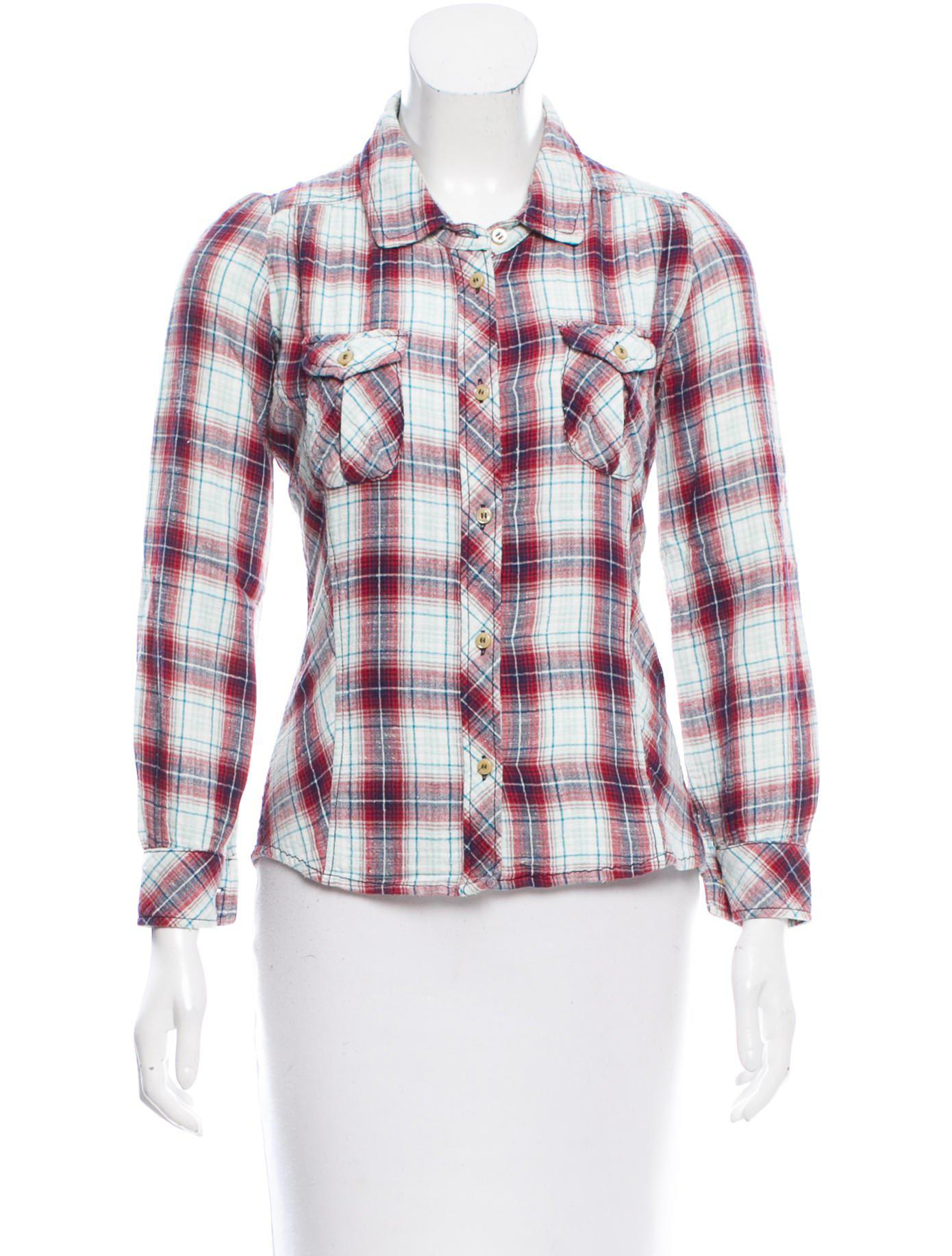 Outlet Locations Étoile Isabel Marant Button-Up Plaid Print Top Buy Cheap Collections Buy Cheap Pay With Visa 1z1oIrS