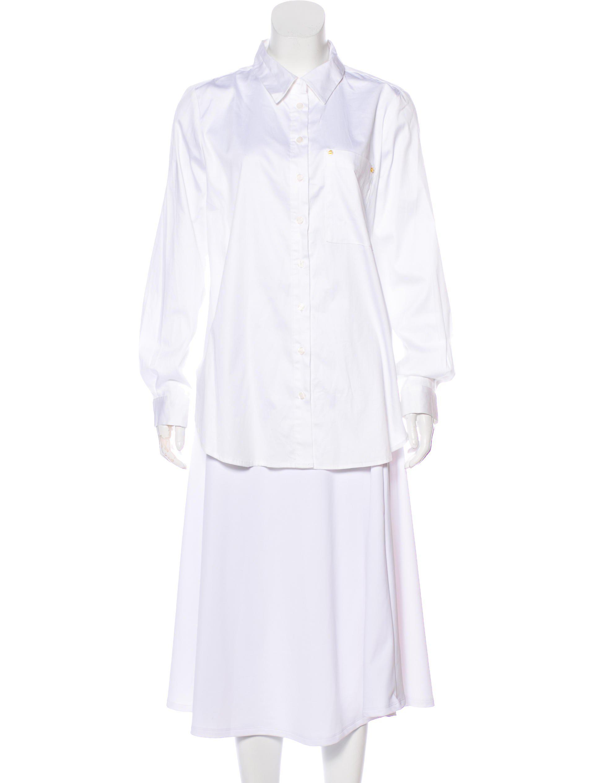 1454caaf903c2 Lyst - Michael Michael Kors Michael Kors Long Sleeve Button-up Top W ...