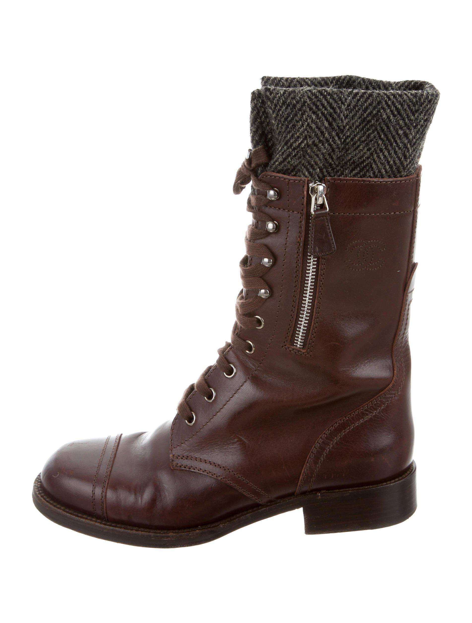 37e3855b798 Lyst - Chanel Cc Combat Boots in Brown for Men