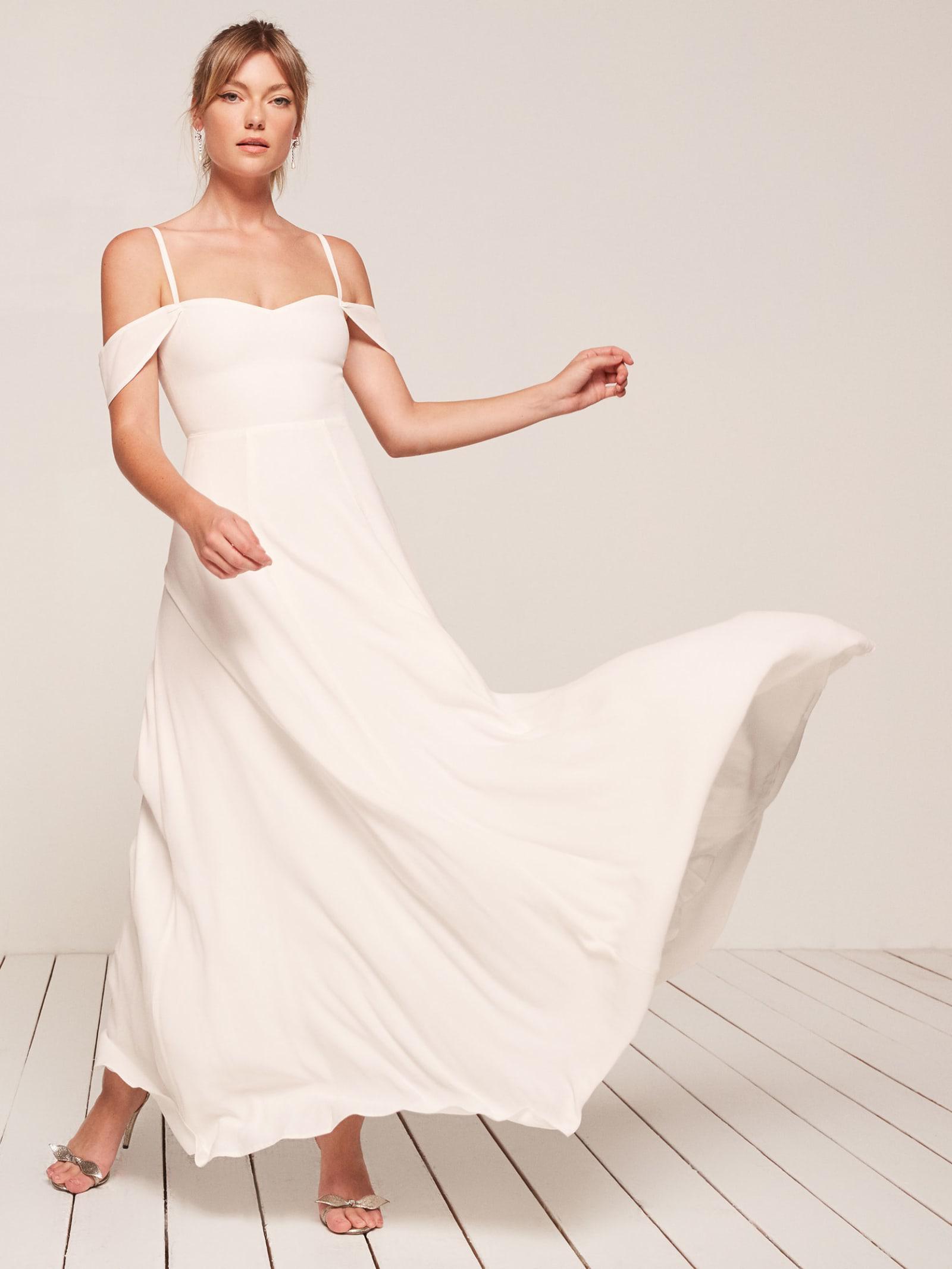 99bc48825ad Lyst - Reformation Poppy Dress in White