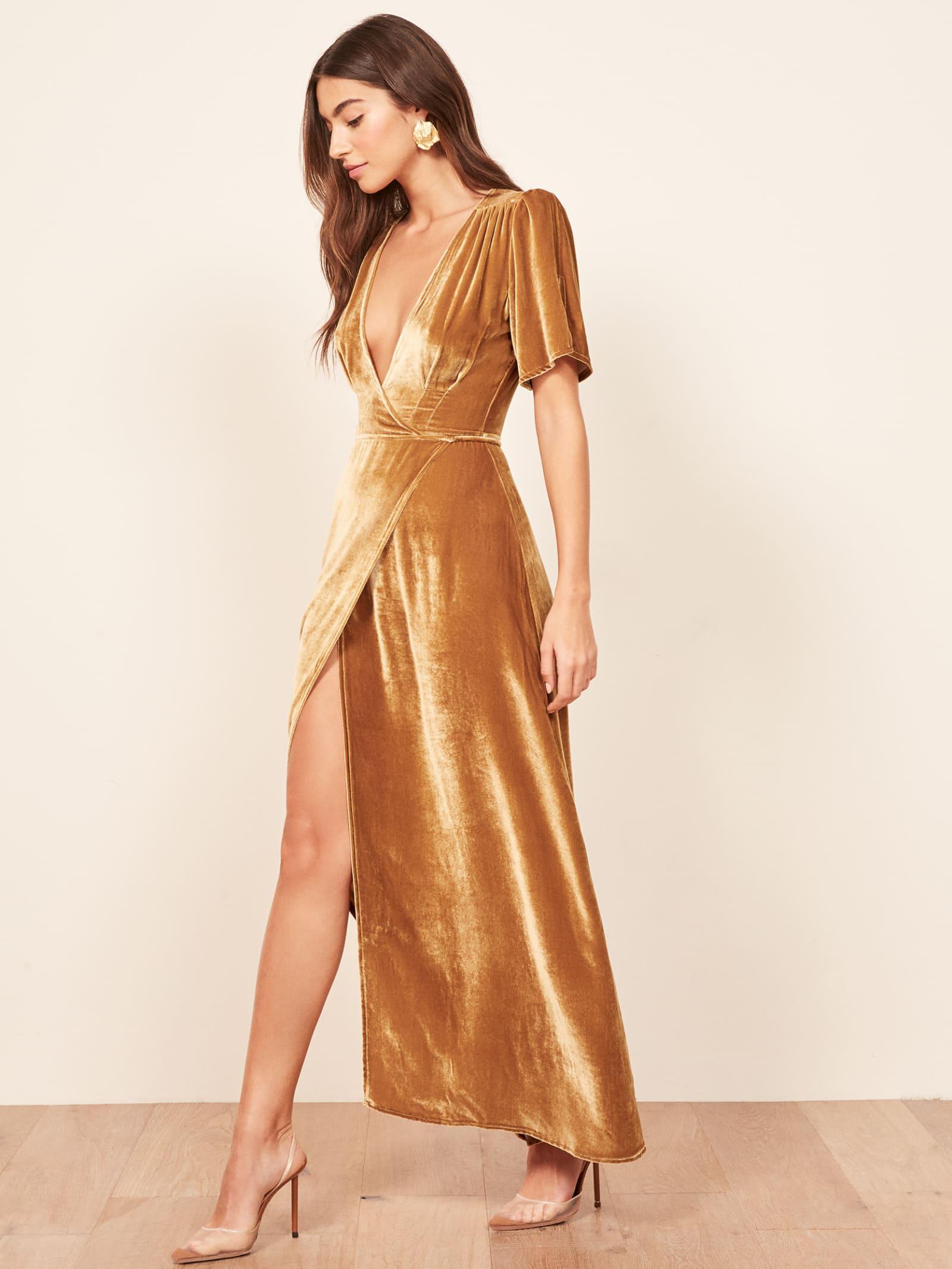 84932e4fca74 Reformation Tiffany Dress in Metallic - Lyst