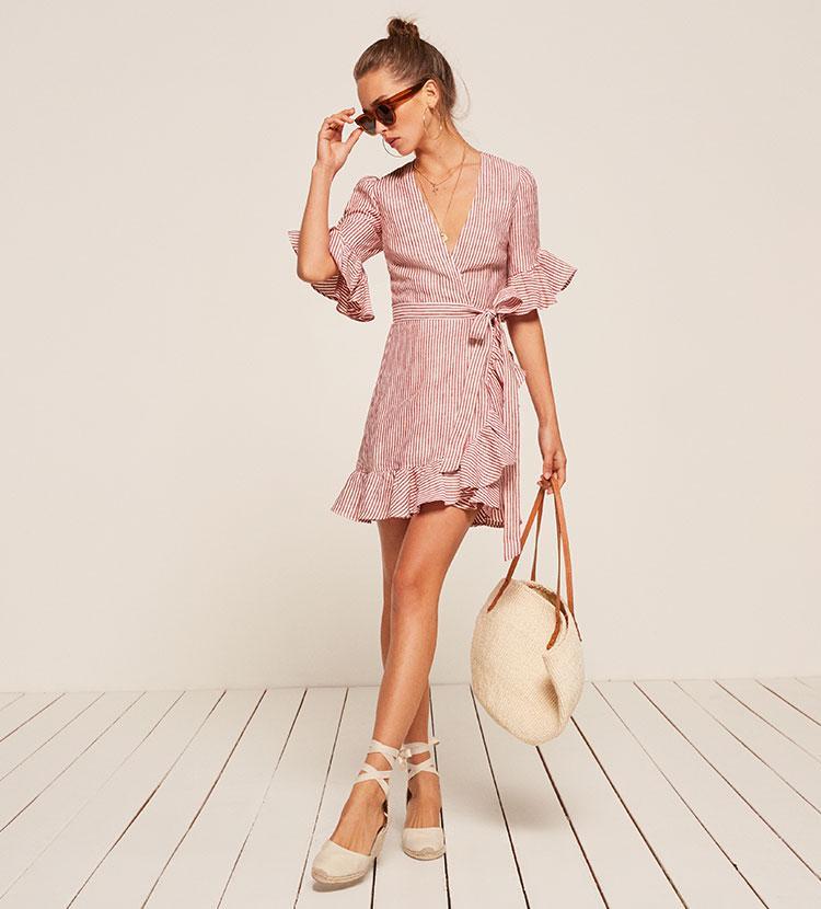 Lyst Reformation Kelsey Dress In Pink