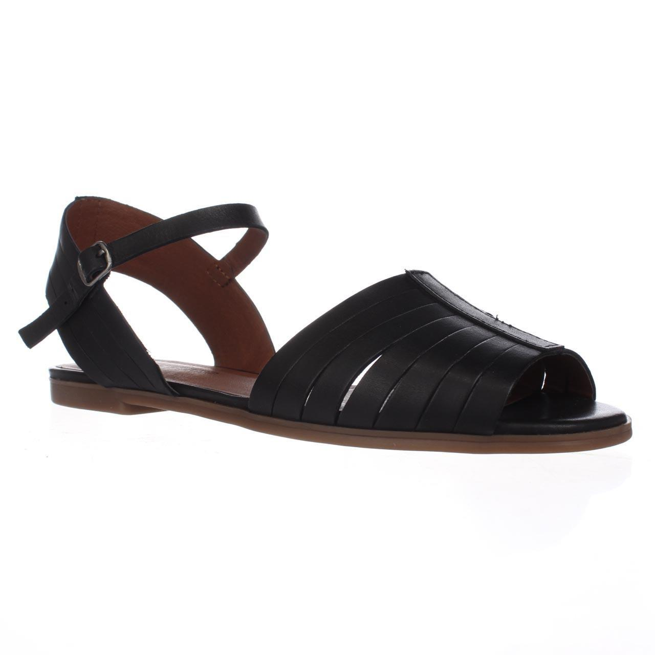 bd90e157f3c06e Lyst - Lucky Brand Channing Flat Peep Toe Sandals - Black in Black